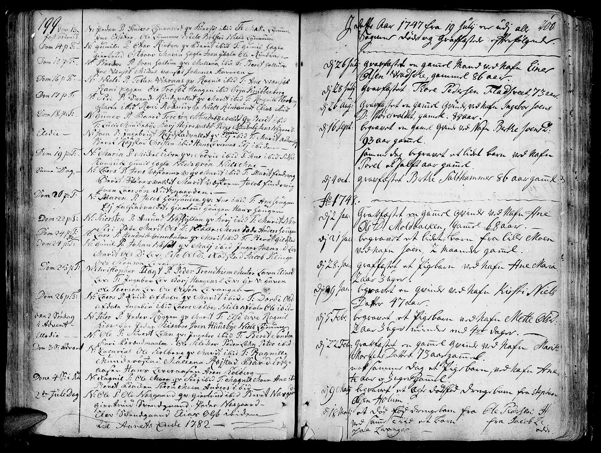 SAT, Ministerialprotokoller, klokkerbøker og fødselsregistre - Nord-Trøndelag, 717/L0141: Ministerialbok nr. 717A01, 1747-1803, s. 199-200