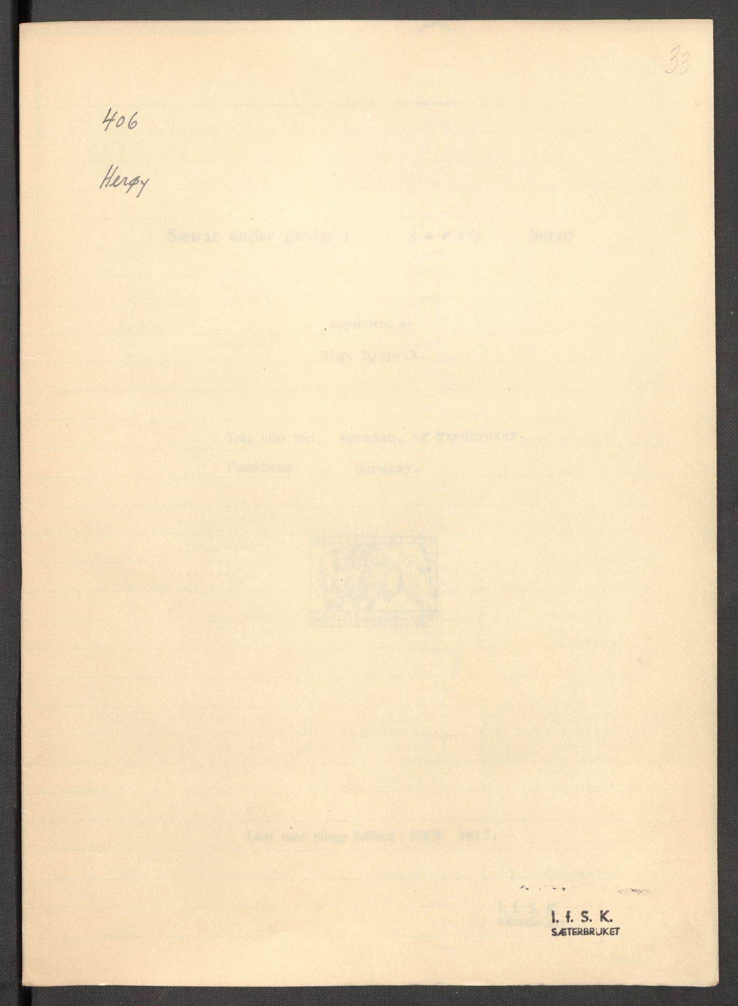 RA, Instituttet for sammenlignende kulturforskning, F/Fc/L0012: Eske B12:, 1934-1936, s. 33