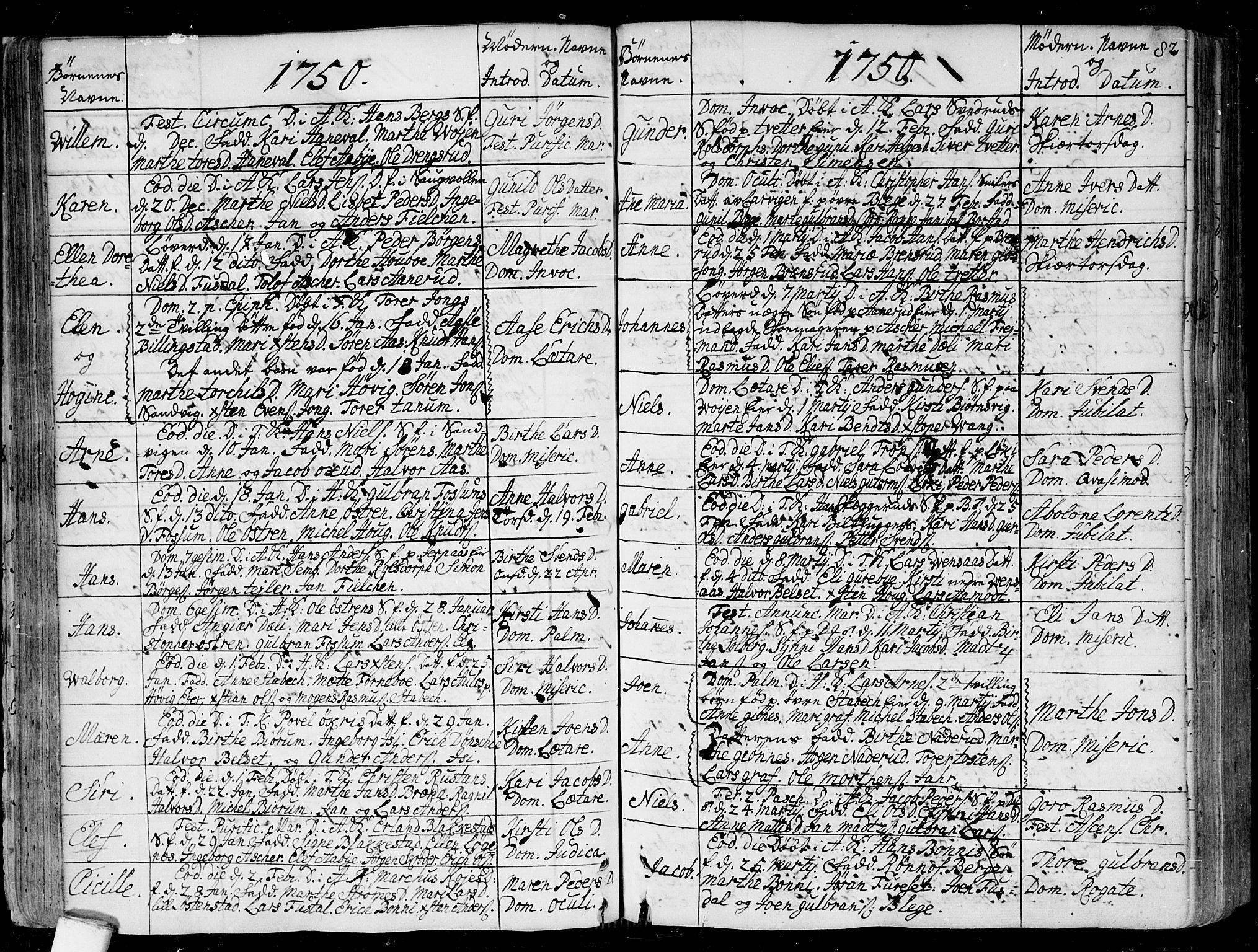 SAO, Asker prestekontor Kirkebøker, F/Fa/L0002: Ministerialbok nr. I 2, 1733-1766, s. 82