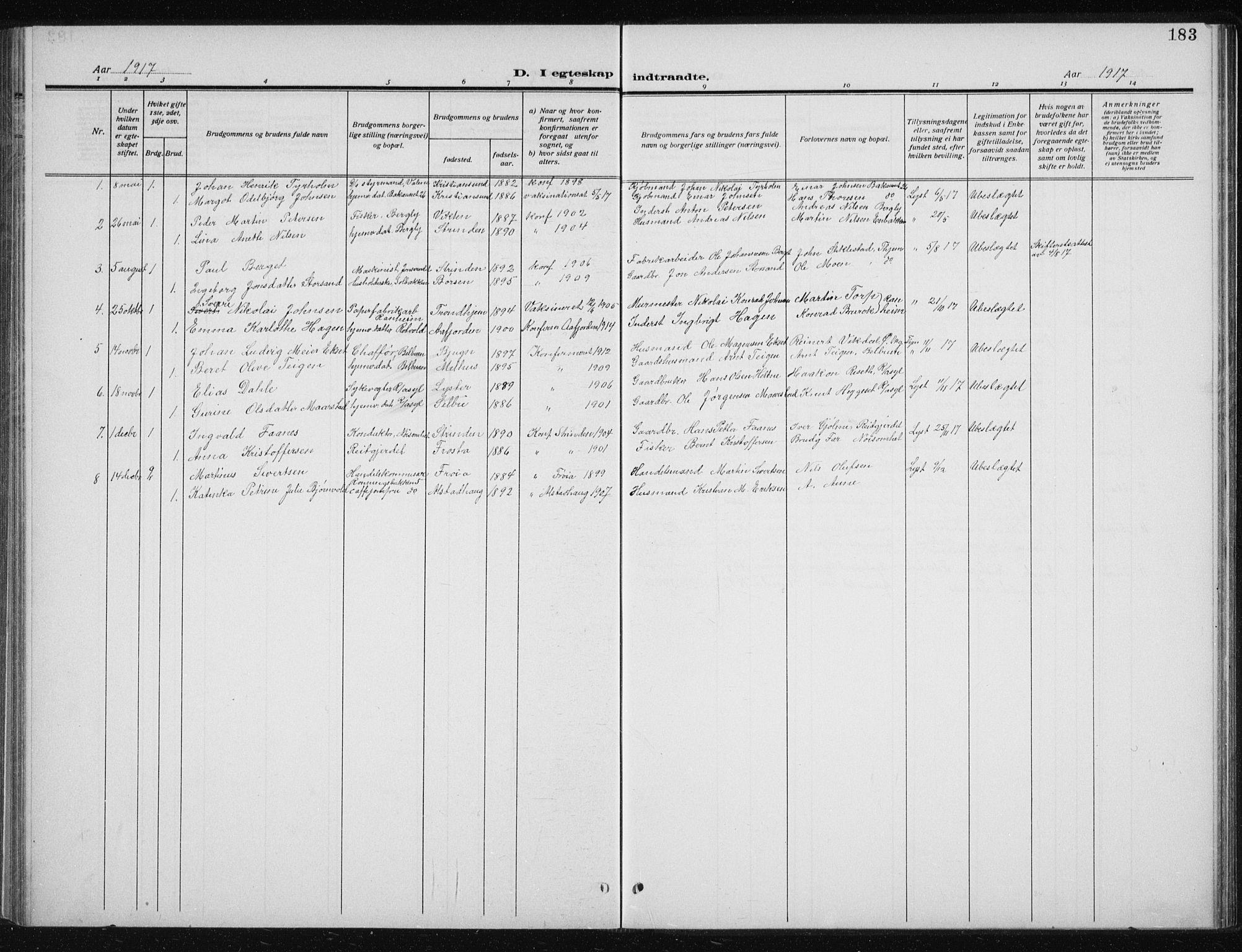 SAT, Ministerialprotokoller, klokkerbøker og fødselsregistre - Sør-Trøndelag, 606/L0314: Klokkerbok nr. 606C10, 1911-1937, s. 183