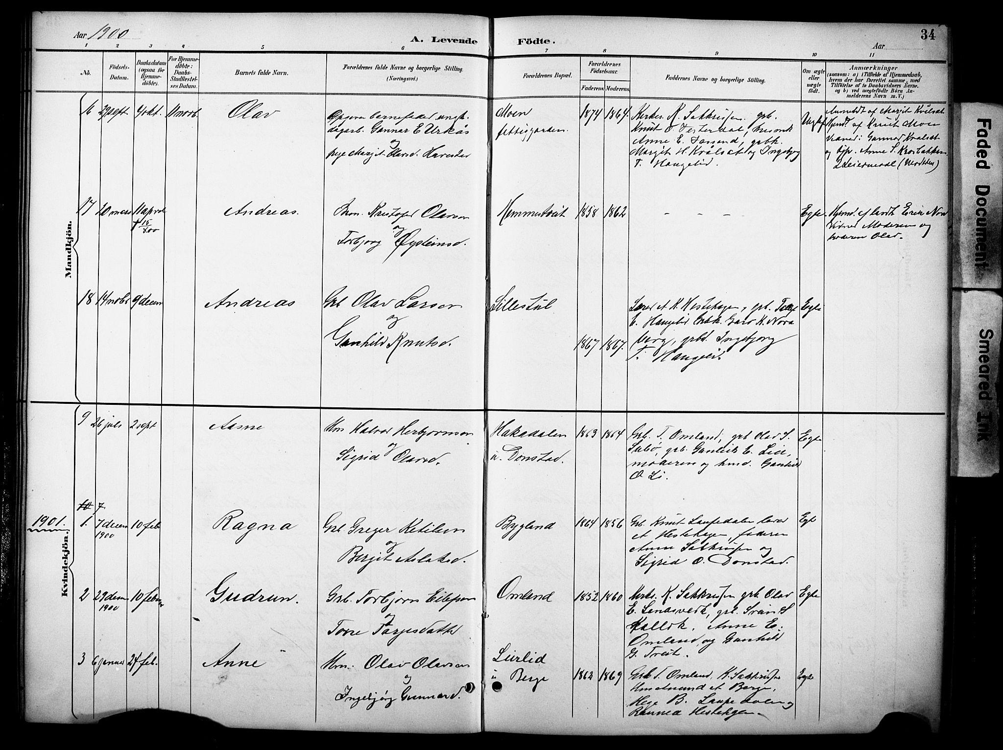 SAKO, Kviteseid kirkebøker, G/Gb/L0003: Klokkerbok nr. II 3, 1893-1933, s. 34