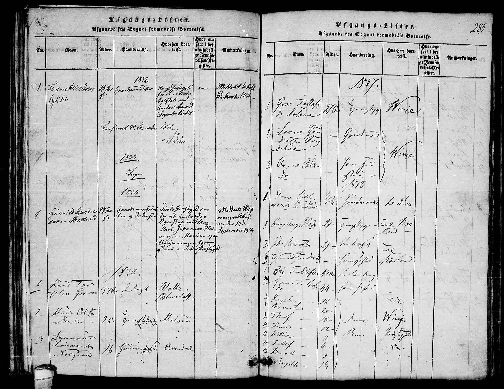 SAKO, Lårdal kirkebøker, G/Gb/L0001: Klokkerbok nr. II 1, 1815-1865, s. 285
