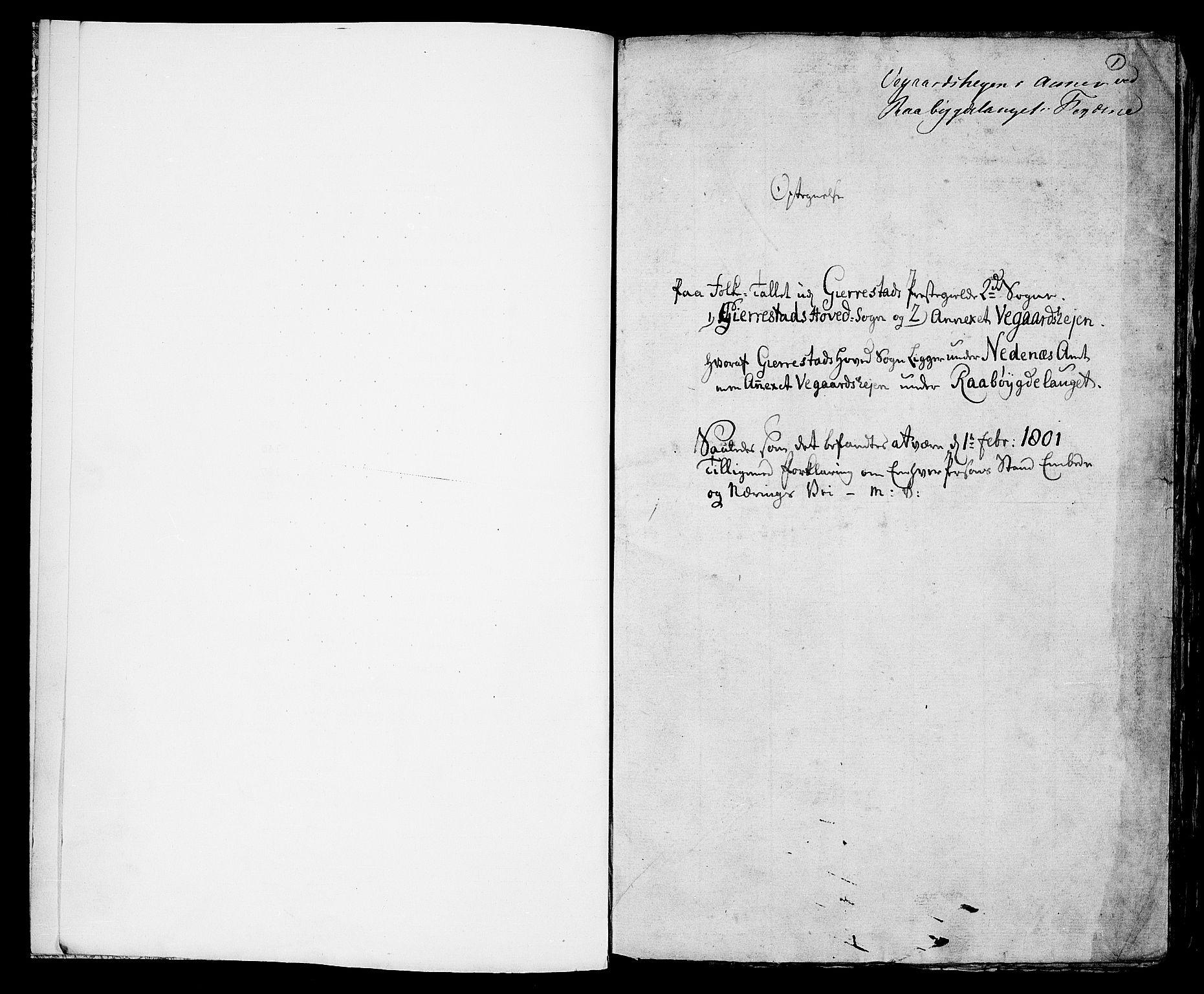 RA, Folketelling 1801 for 0911P Gjerstad prestegjeld, 1801, s. 1a