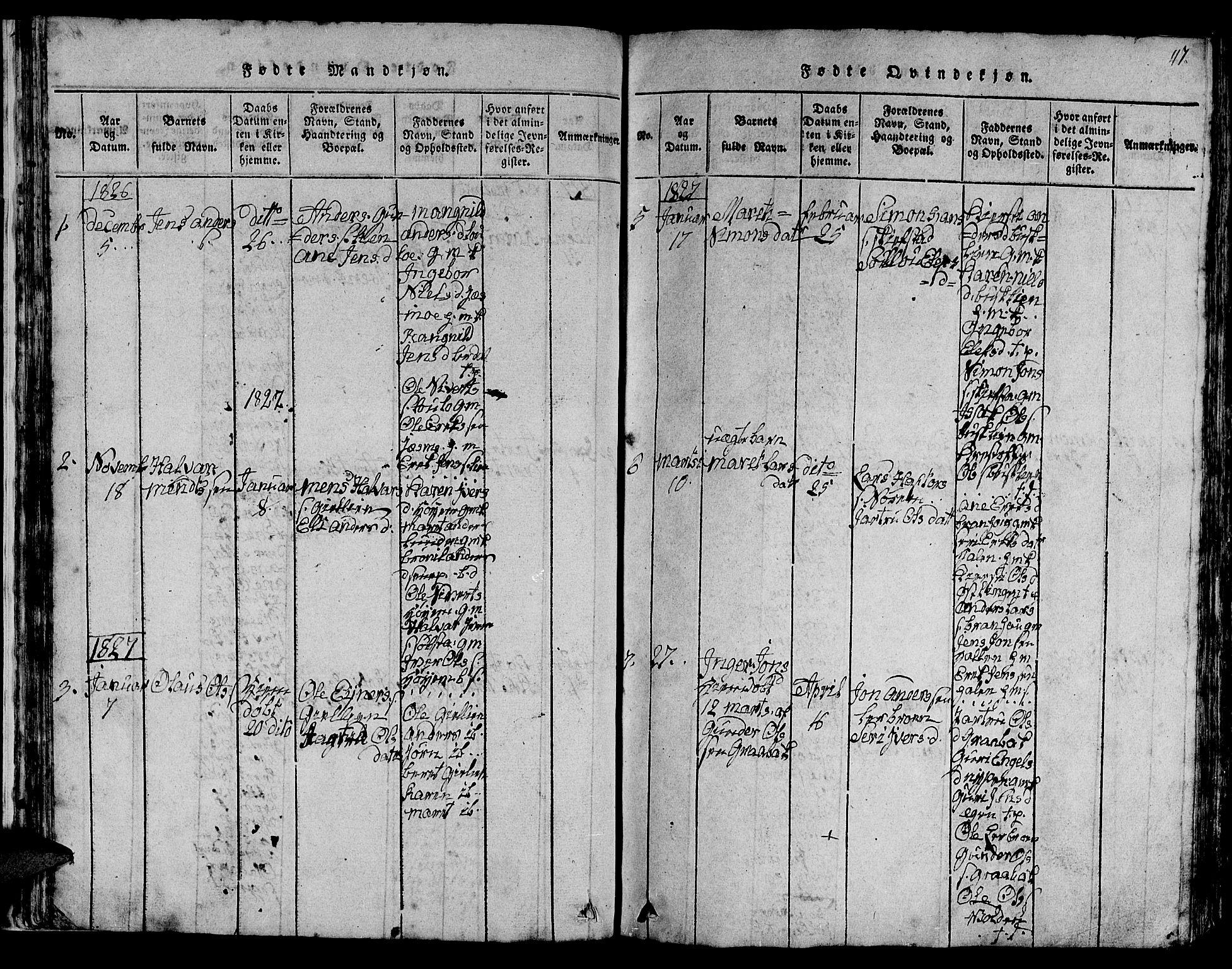 SAT, Ministerialprotokoller, klokkerbøker og fødselsregistre - Sør-Trøndelag, 613/L0393: Klokkerbok nr. 613C01, 1816-1886, s. 47