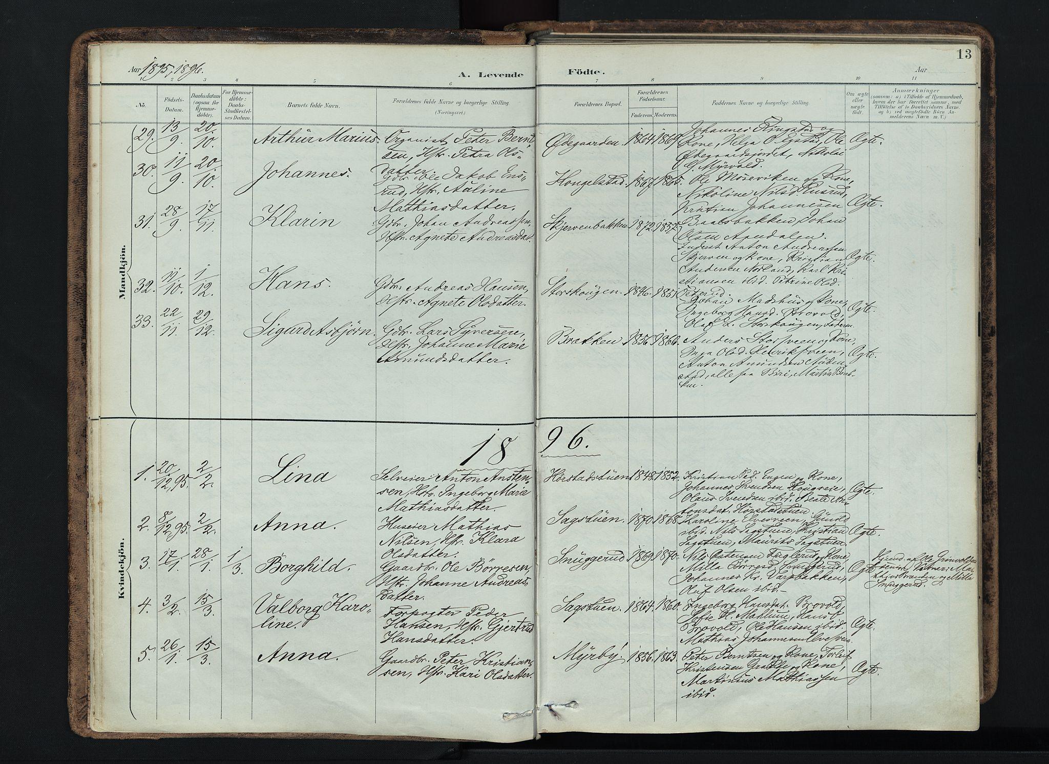 SAH, Vardal prestekontor, H/Ha/Haa/L0019: Ministerialbok nr. 19, 1893-1907, s. 13