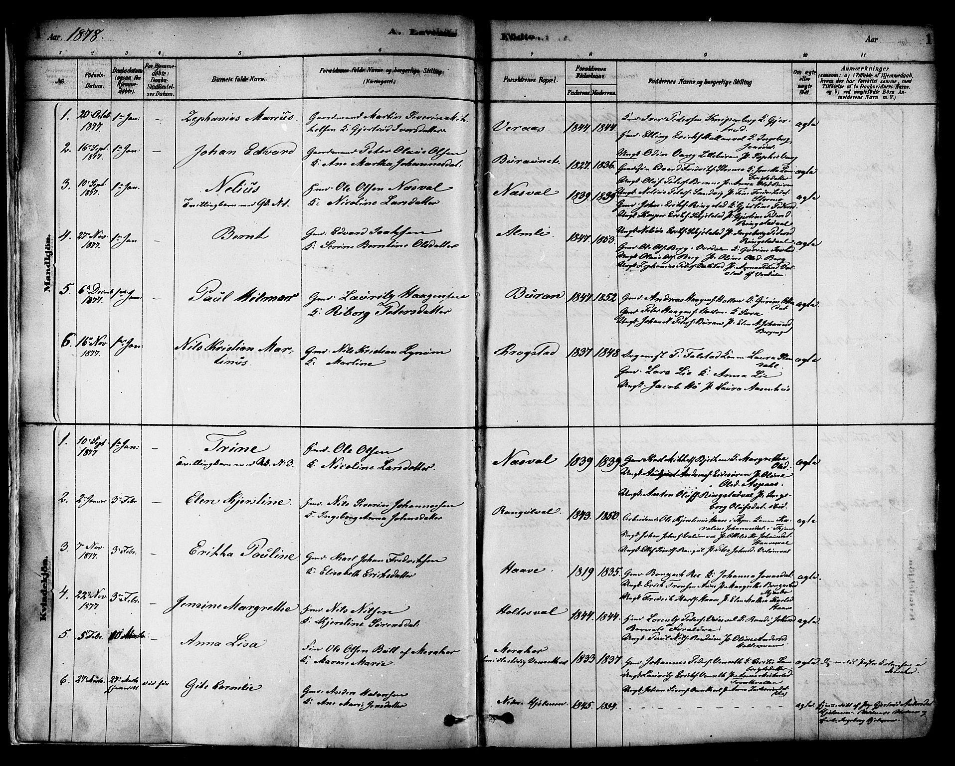 SAT, Ministerialprotokoller, klokkerbøker og fødselsregistre - Nord-Trøndelag, 717/L0159: Ministerialbok nr. 717A09, 1878-1898, s. 1