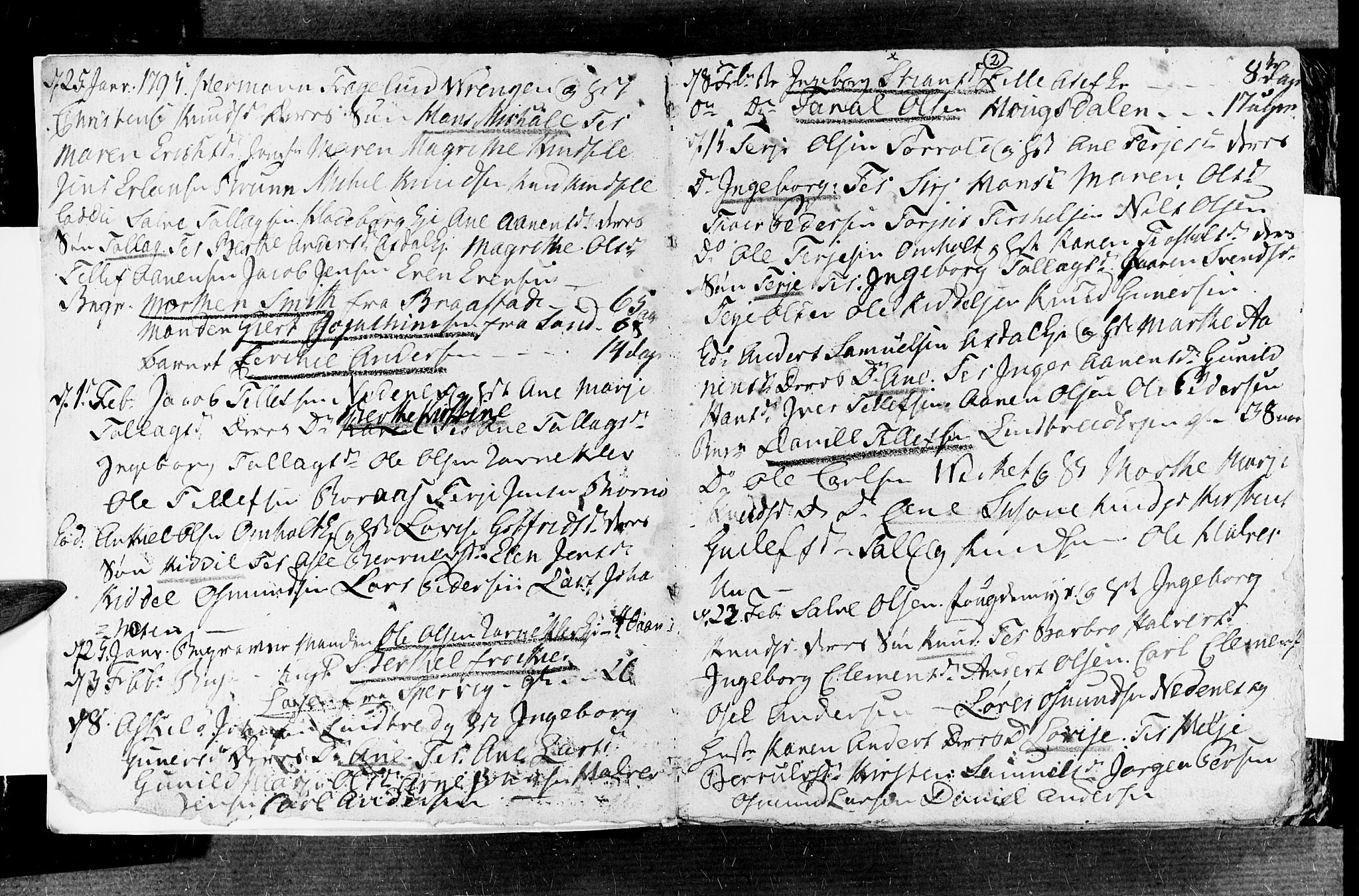 SAK, Øyestad sokneprestkontor, F/Fb/L0002: Klokkerbok nr. B 2, 1795-1807, s. 2