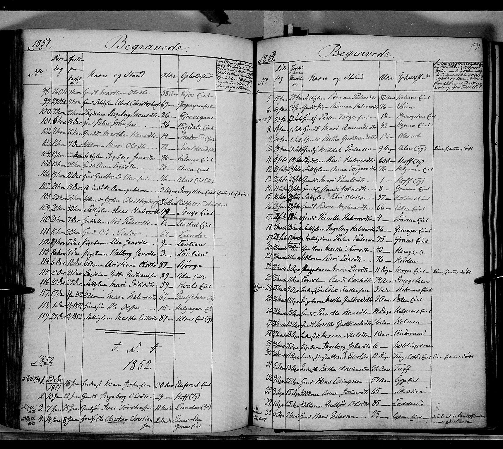 SAH, Gran prestekontor, Ministerialbok nr. 11, 1842-1856, s. 1090-1091
