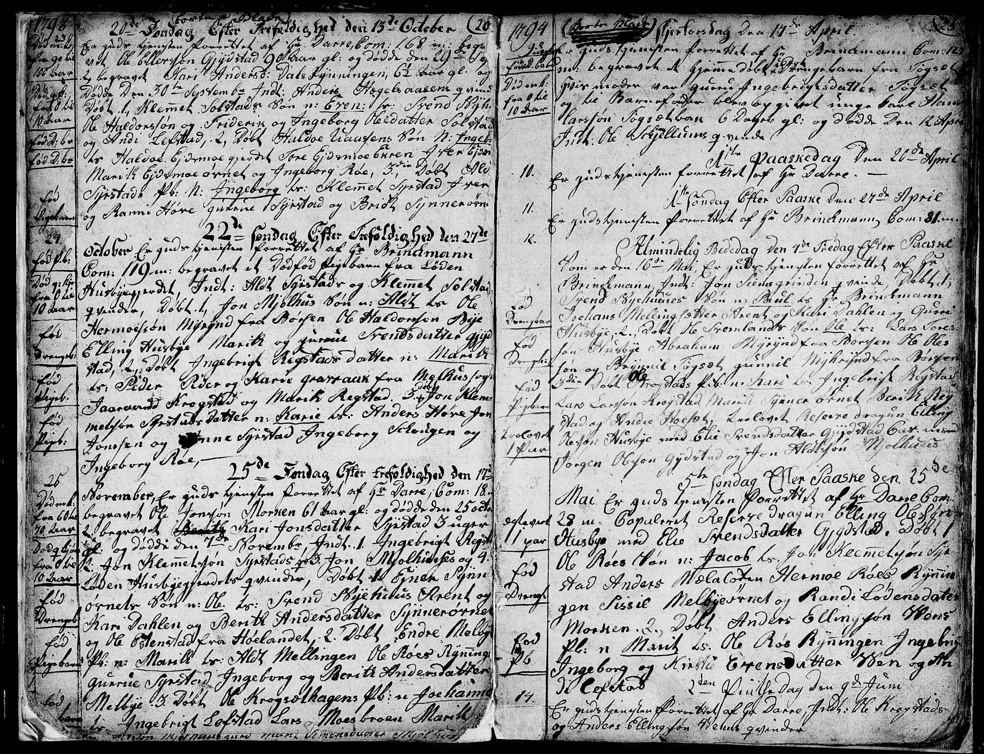 SAT, Ministerialprotokoller, klokkerbøker og fødselsregistre - Sør-Trøndelag, 667/L0794: Ministerialbok nr. 667A02, 1791-1816, s. 22-23