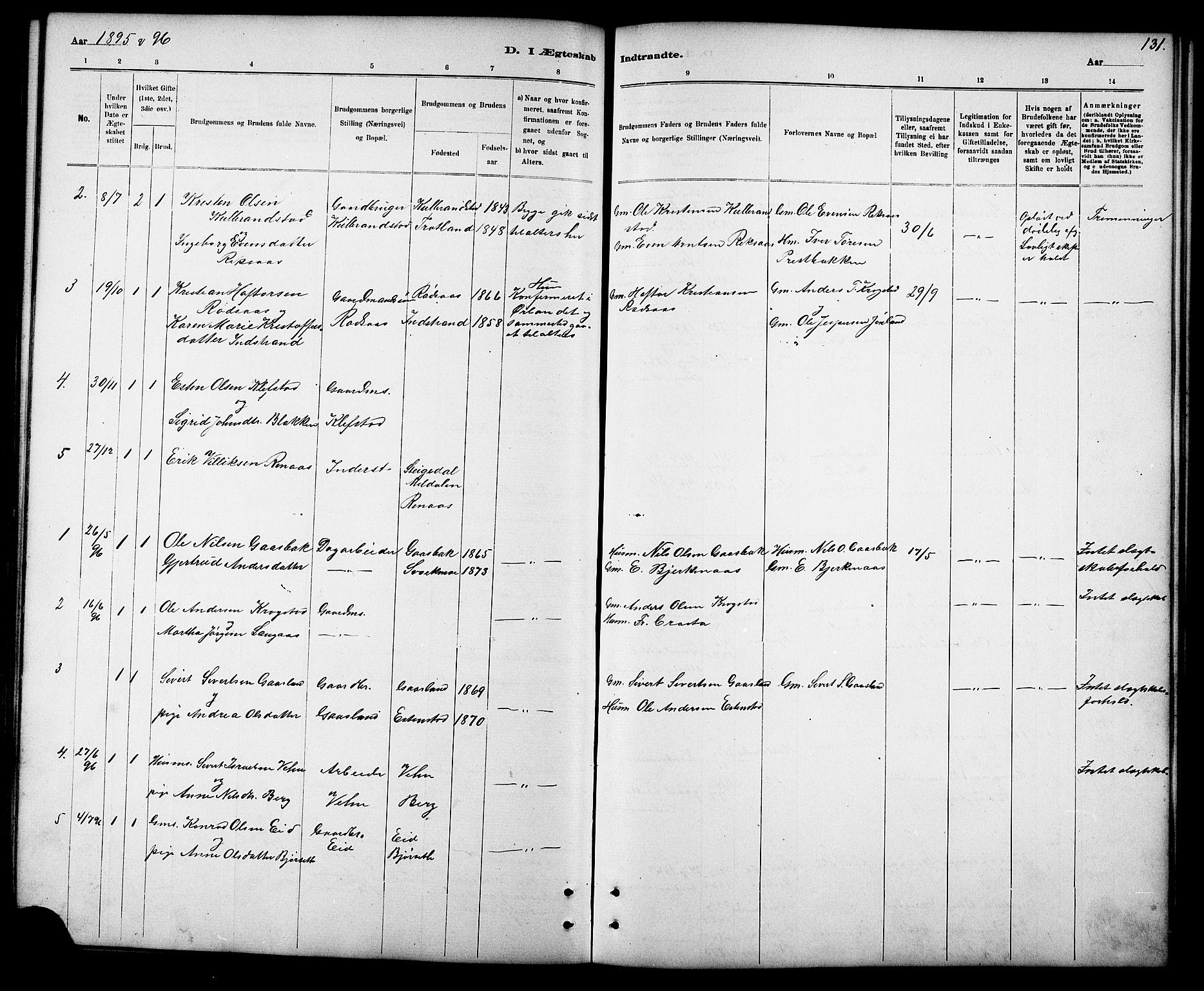 SAT, Ministerialprotokoller, klokkerbøker og fødselsregistre - Sør-Trøndelag, 694/L1132: Klokkerbok nr. 694C04, 1887-1914, s. 131