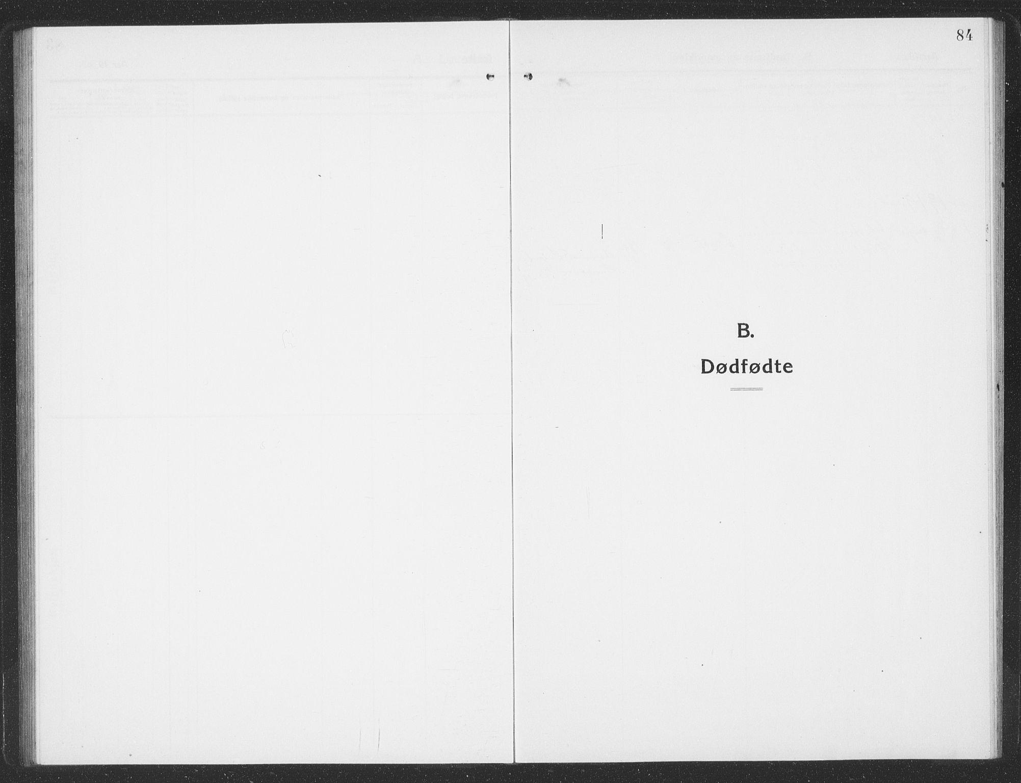 SAT, Ministerialprotokoller, klokkerbøker og fødselsregistre - Sør-Trøndelag, 688/L1030: Klokkerbok nr. 688C05, 1916-1939, s. 84