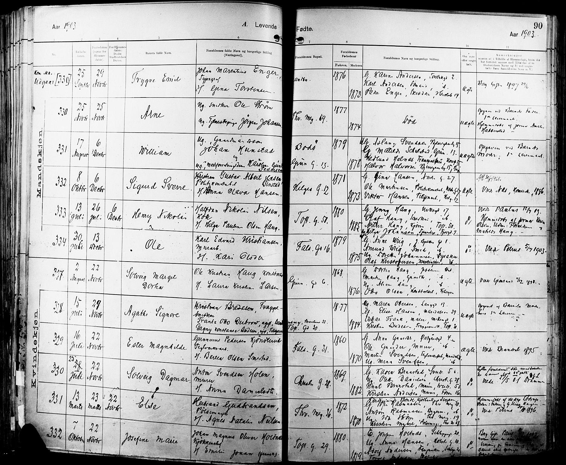 SAO, Paulus prestekontor Kirkebøker, F/Fa/L0016: Ministerialbok nr. 16, 1902-1906, s. 90