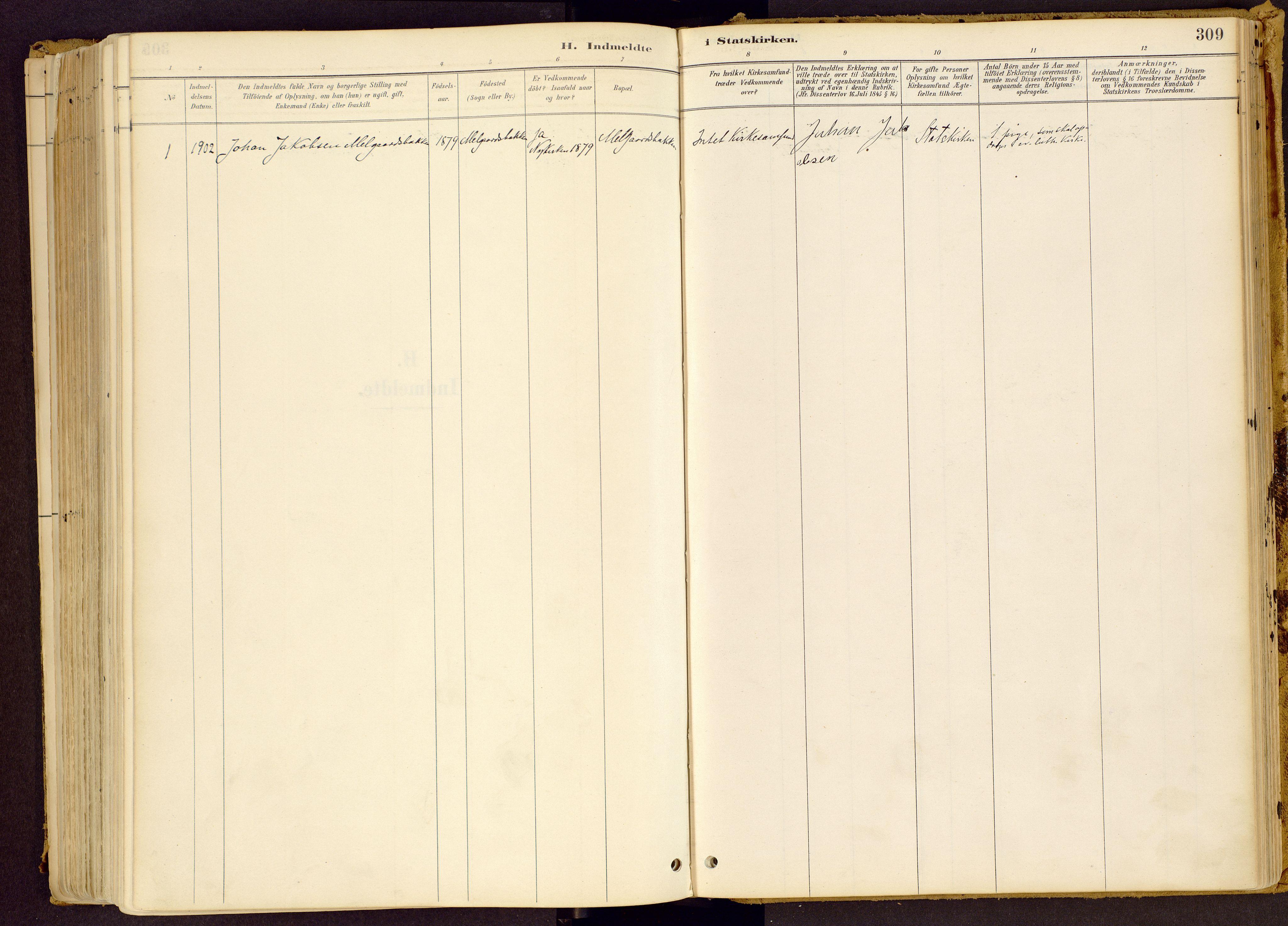 SAH, Vestre Gausdal prestekontor, Ministerialbok nr. 1, 1887-1914, s. 309
