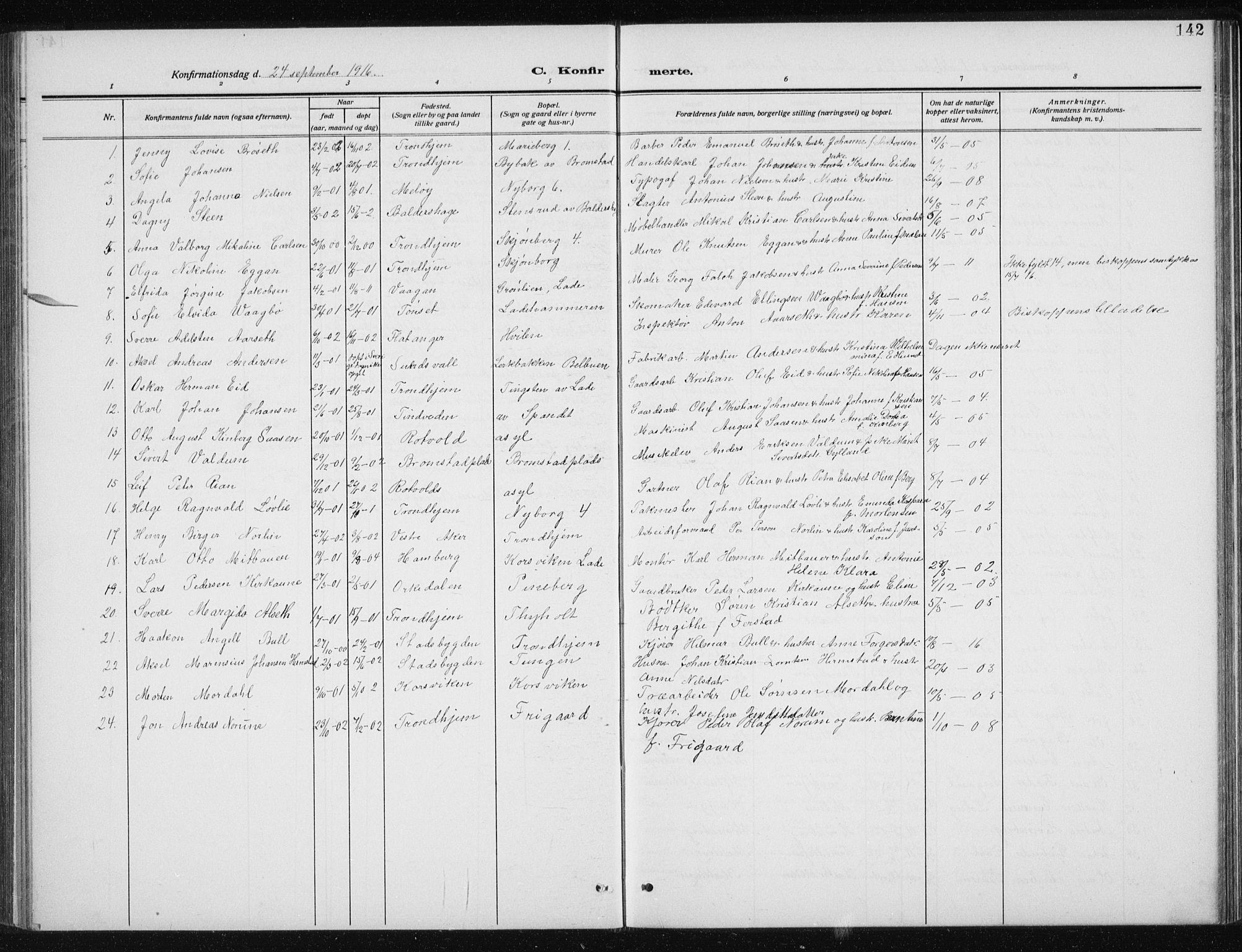 SAT, Ministerialprotokoller, klokkerbøker og fødselsregistre - Sør-Trøndelag, 606/L0314: Klokkerbok nr. 606C10, 1911-1937, s. 142