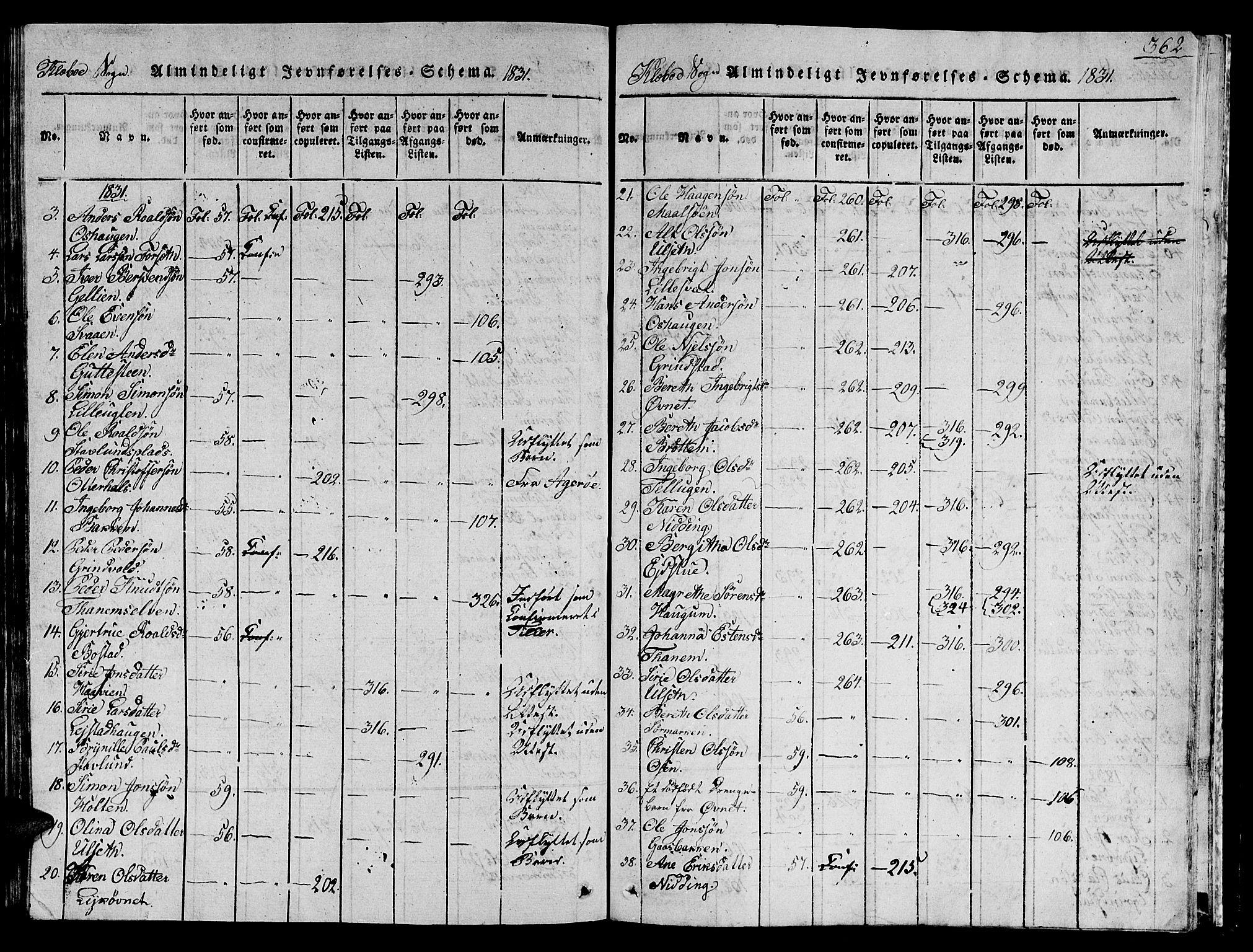 SAT, Ministerialprotokoller, klokkerbøker og fødselsregistre - Sør-Trøndelag, 618/L0450: Klokkerbok nr. 618C01, 1816-1865, s. 362