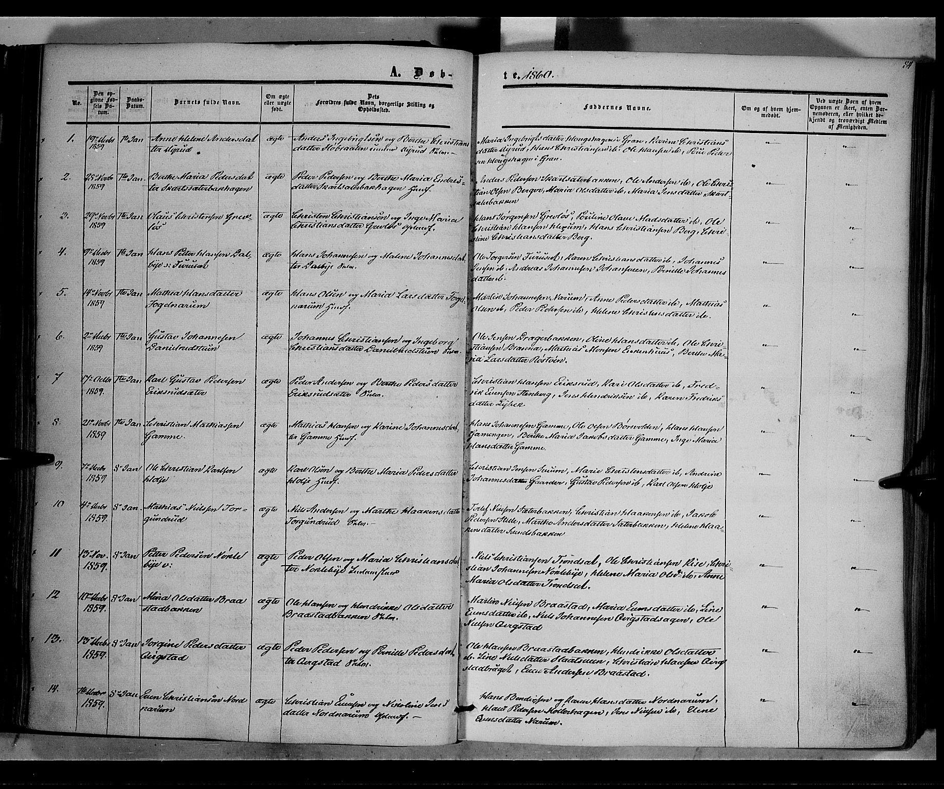 SAH, Vestre Toten prestekontor, Ministerialbok nr. 6, 1856-1861, s. 84