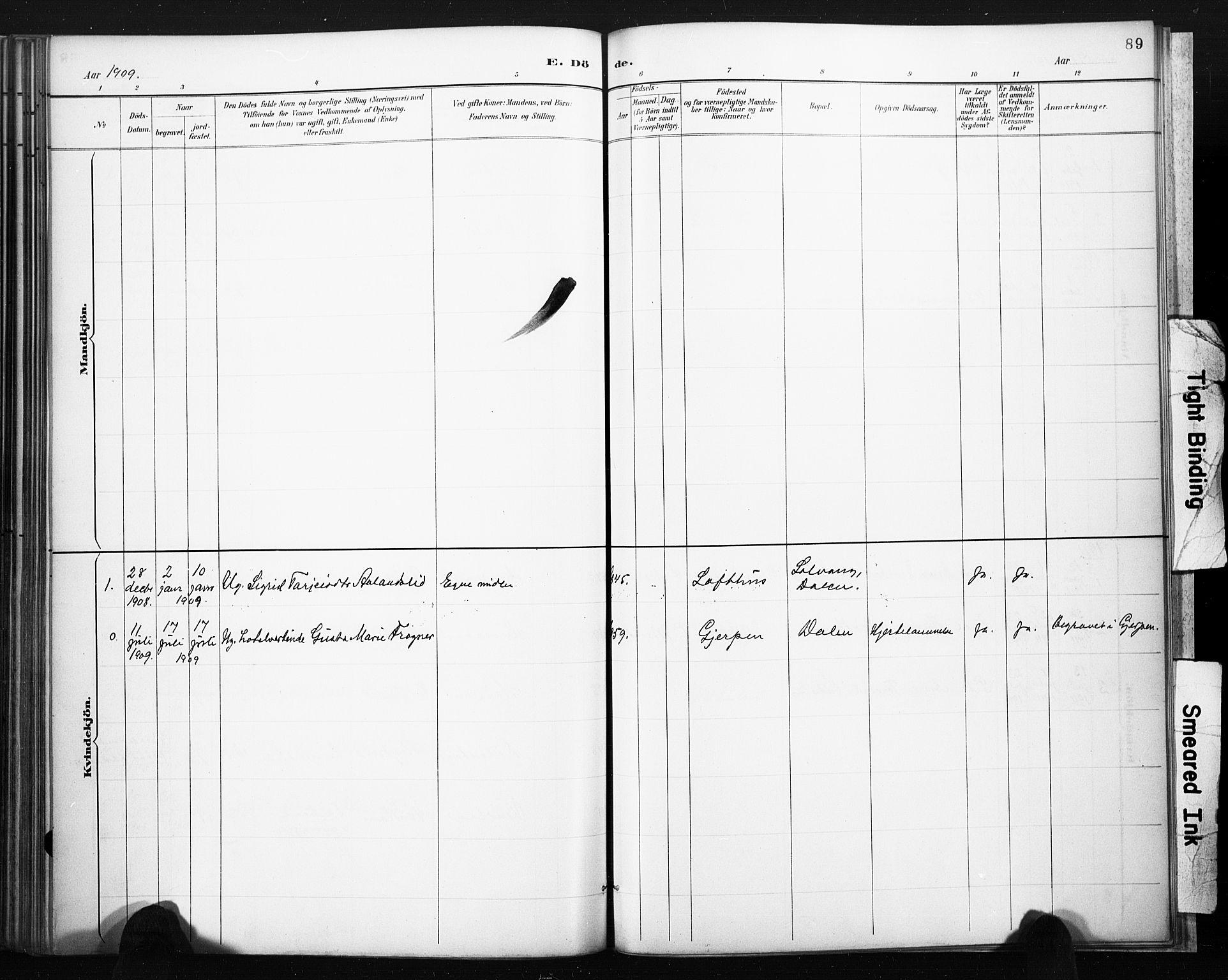 SAKO, Lårdal kirkebøker, F/Fb/L0002: Ministerialbok nr. II 2, 1887-1918, s. 89