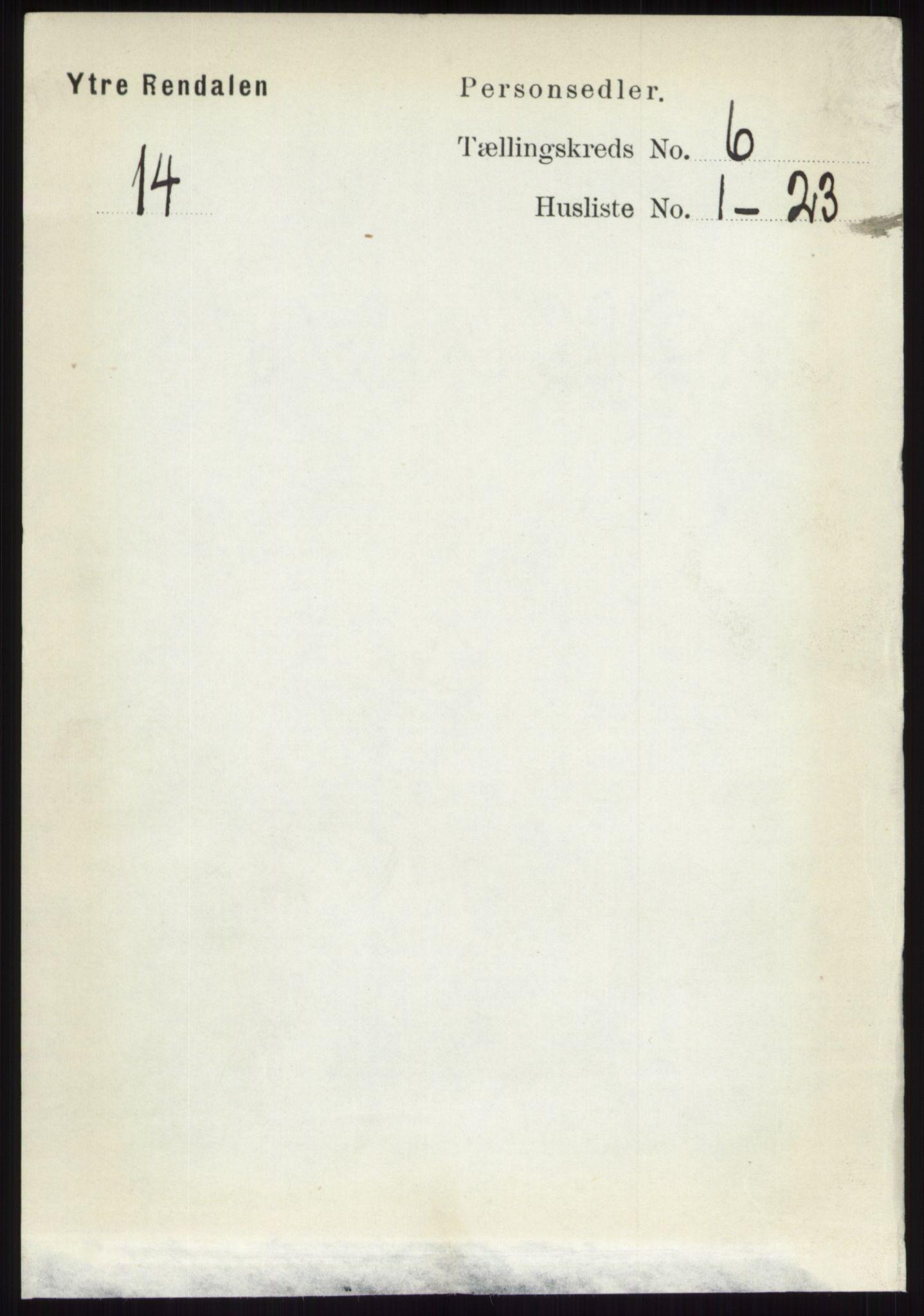 RA, Folketelling 1891 for 0432 Ytre Rendal herred, 1891, s. 1677