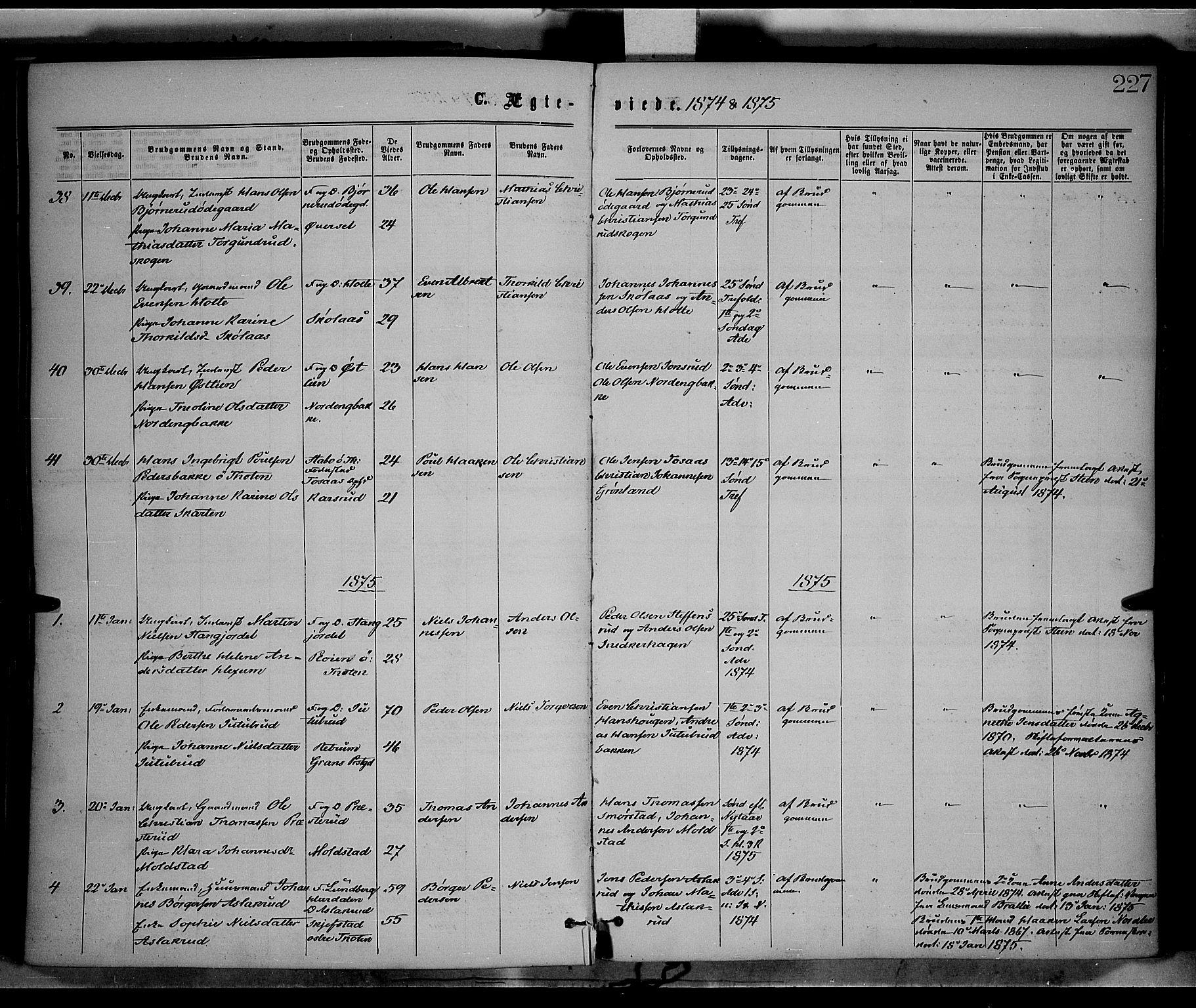 SAH, Vestre Toten prestekontor, H/Ha/Haa/L0008: Ministerialbok nr. 8, 1870-1877, s. 227