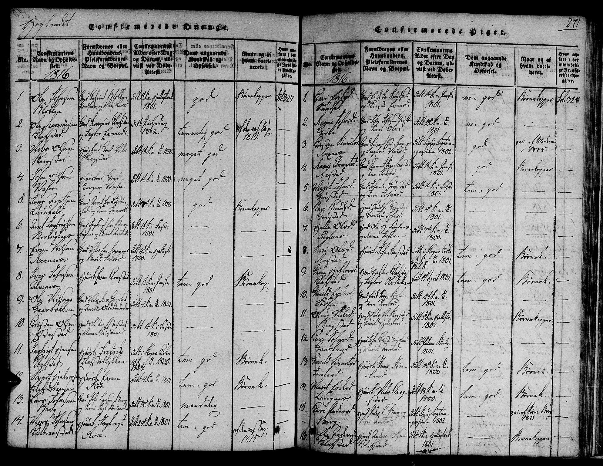SAT, Ministerialprotokoller, klokkerbøker og fødselsregistre - Sør-Trøndelag, 691/L1068: Ministerialbok nr. 691A03 /4, 1816-1826, s. 271