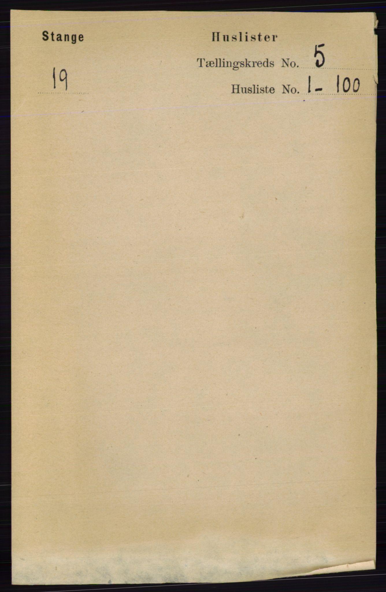 RA, Folketelling 1891 for 0417 Stange herred, 1891, s. 2993