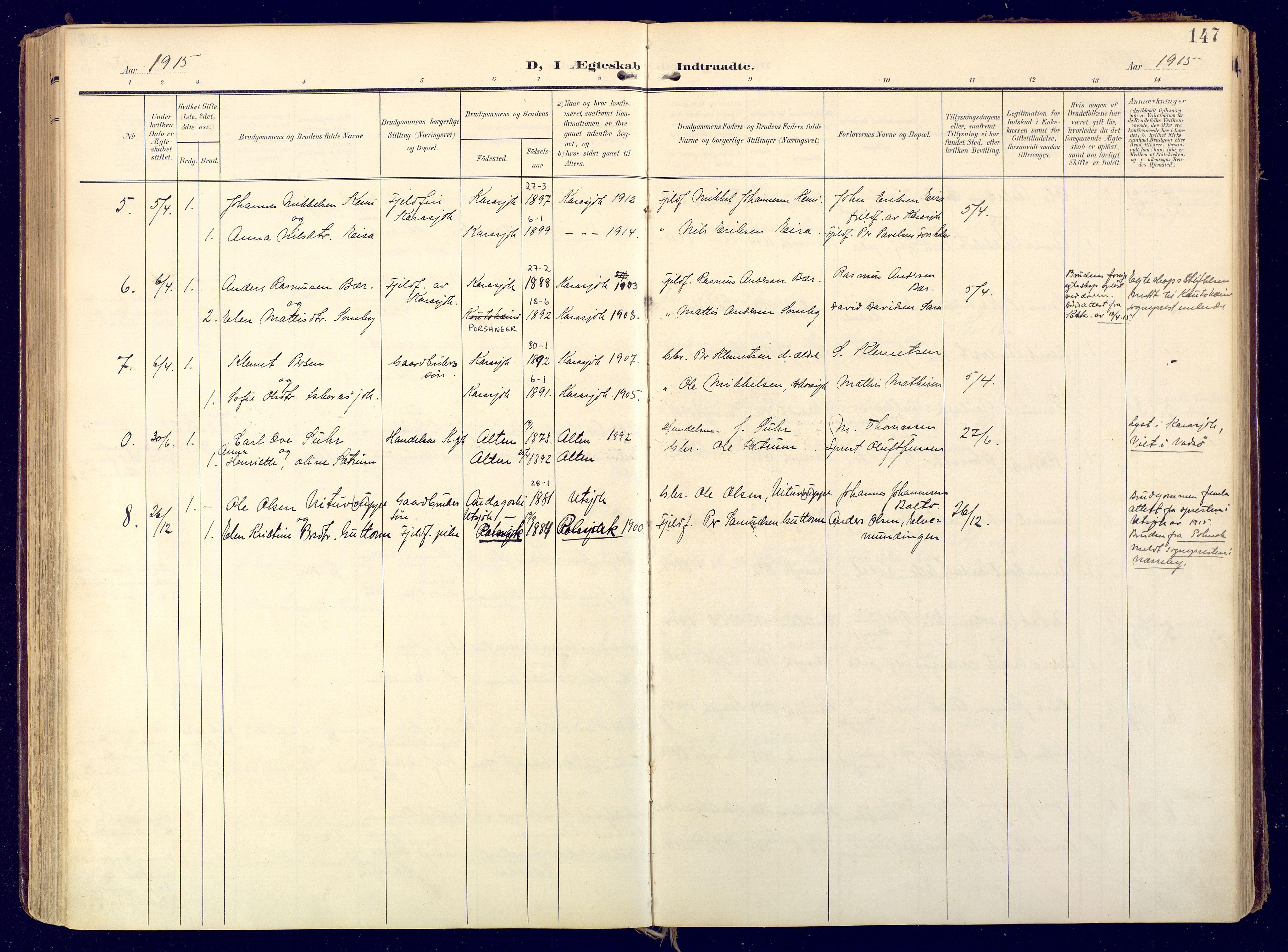 SATØ, Karasjok sokneprestkontor, H/Ha: Ministerialbok nr. 3, 1907-1926, s. 147