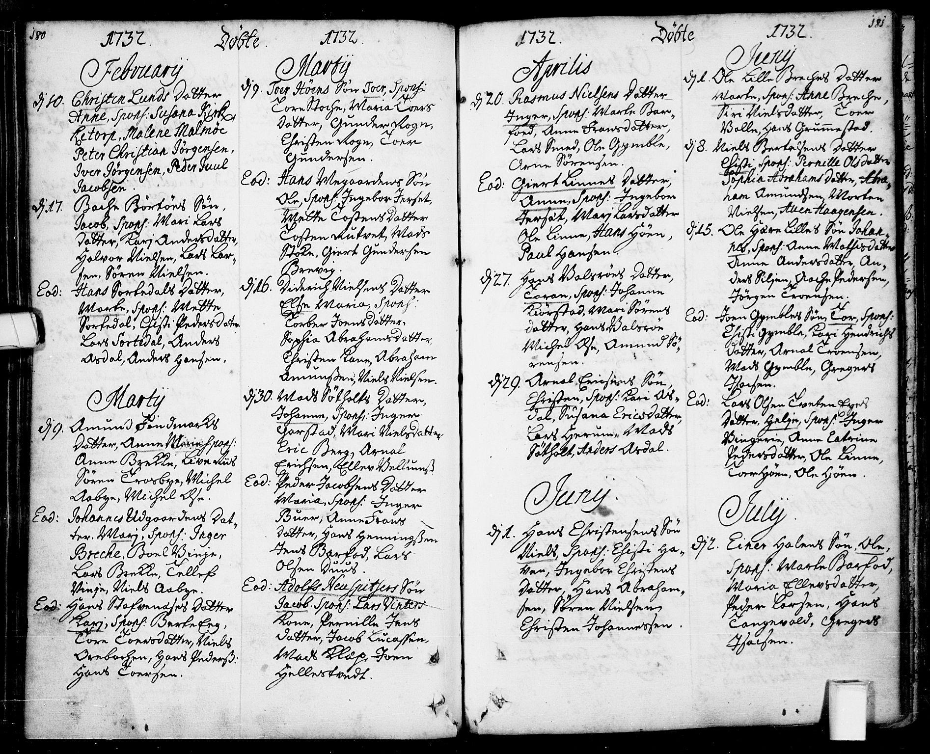 SAKO, Bamble kirkebøker, F/Fa/L0001: Ministerialbok nr. I 1, 1702-1774, s. 180-181
