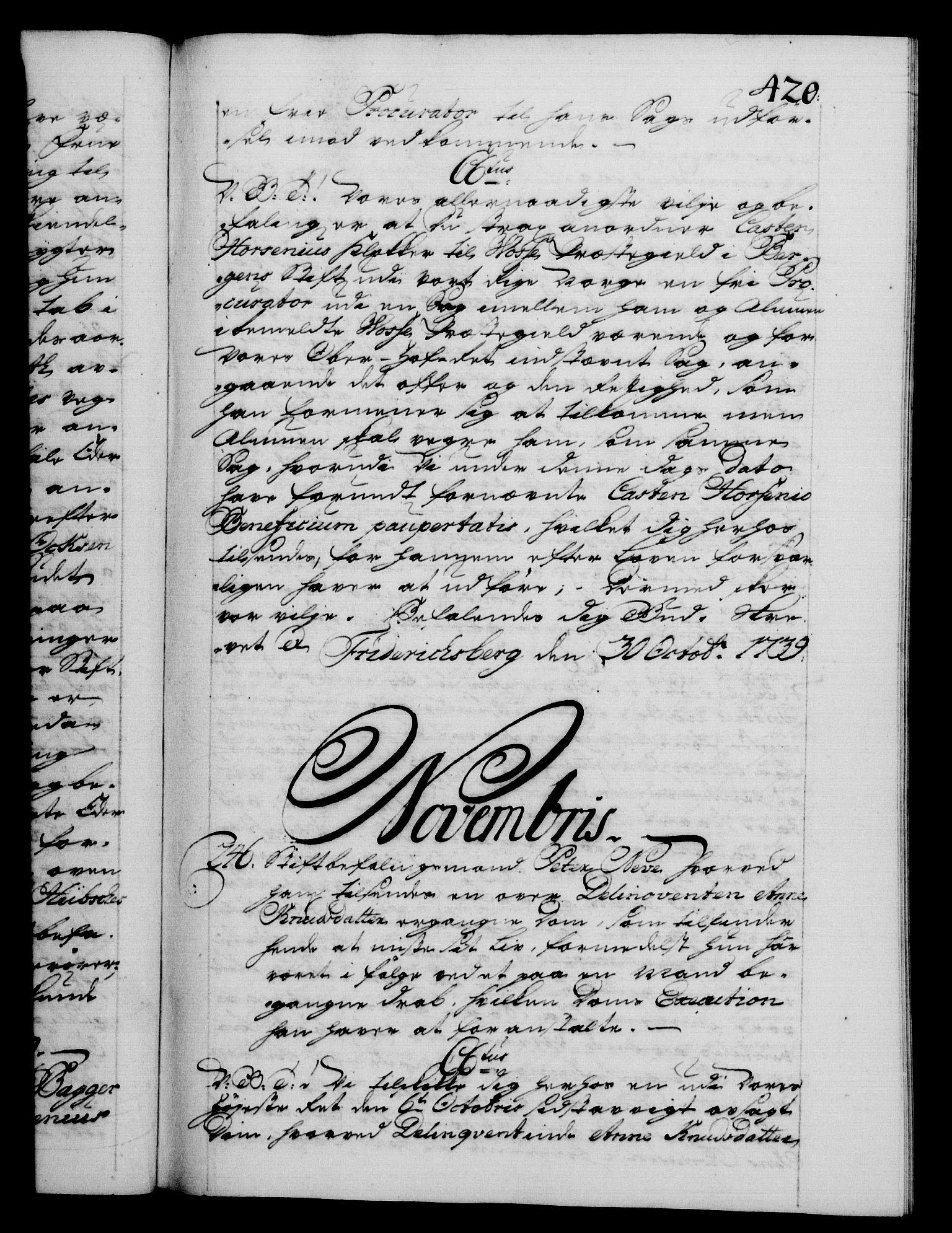 RA, Danske Kanselli 1572-1799, F/Fc/Fca/Fcab/L0028: Norske tegnelser, 1738-1740, s. 420a