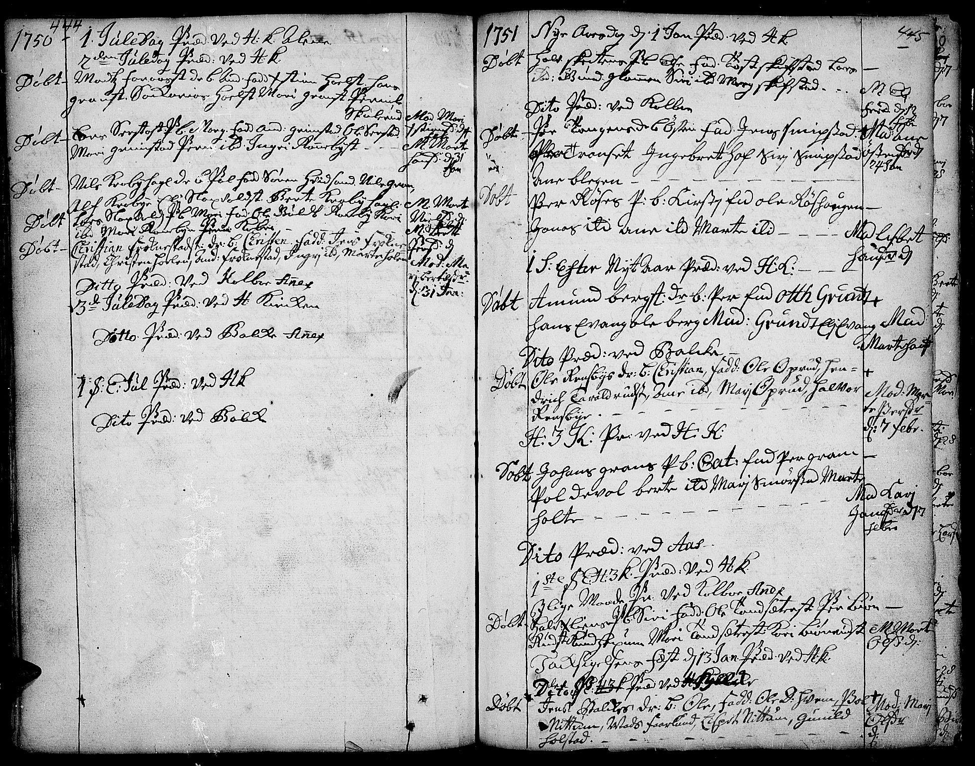 SAH, Toten prestekontor, Ministerialbok nr. 3, 1734-1751, s. 444-445