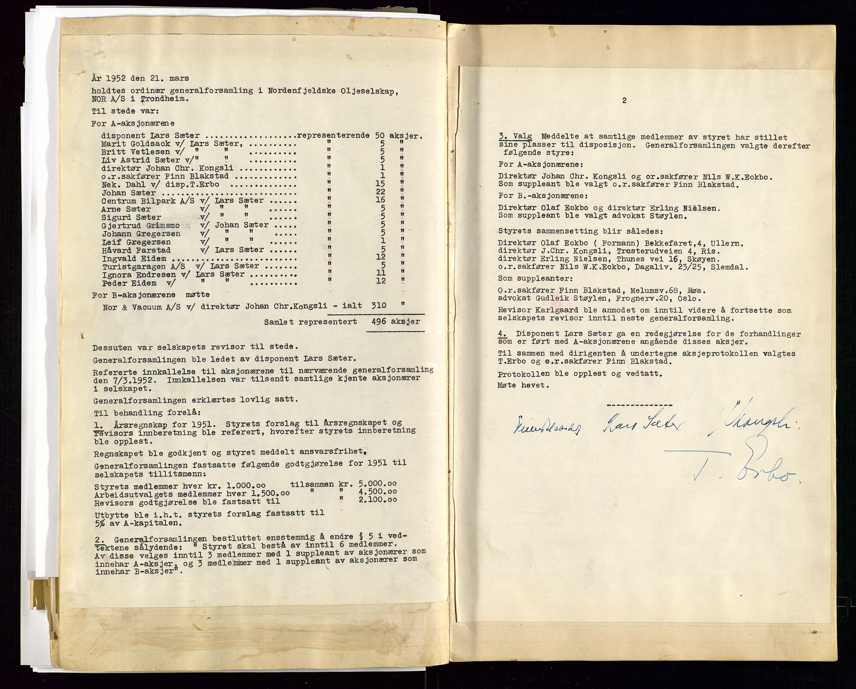 SAST, PA 1519 - Nordenfjeldske Oljeselskap, NOR A/S, A/L0001: Styreprotokoll, 1937-1962, s. 100