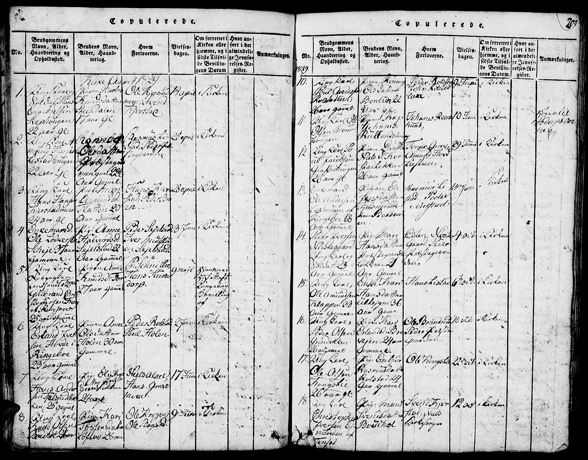 SAH, Fron prestekontor, H/Ha/Hab/L0001: Klokkerbok nr. 1, 1816-1843, s. 209