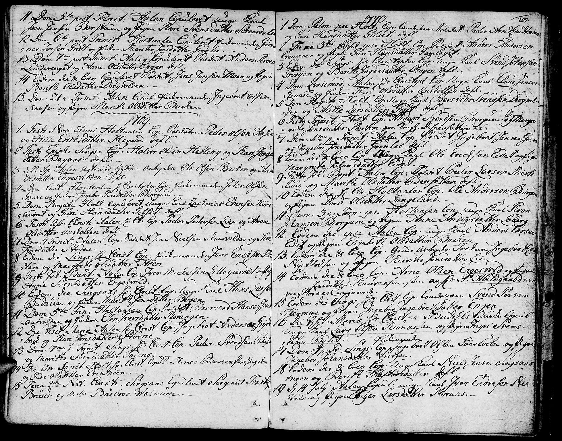 SAT, Ministerialprotokoller, klokkerbøker og fødselsregistre - Sør-Trøndelag, 685/L0952: Ministerialbok nr. 685A01, 1745-1804, s. 207