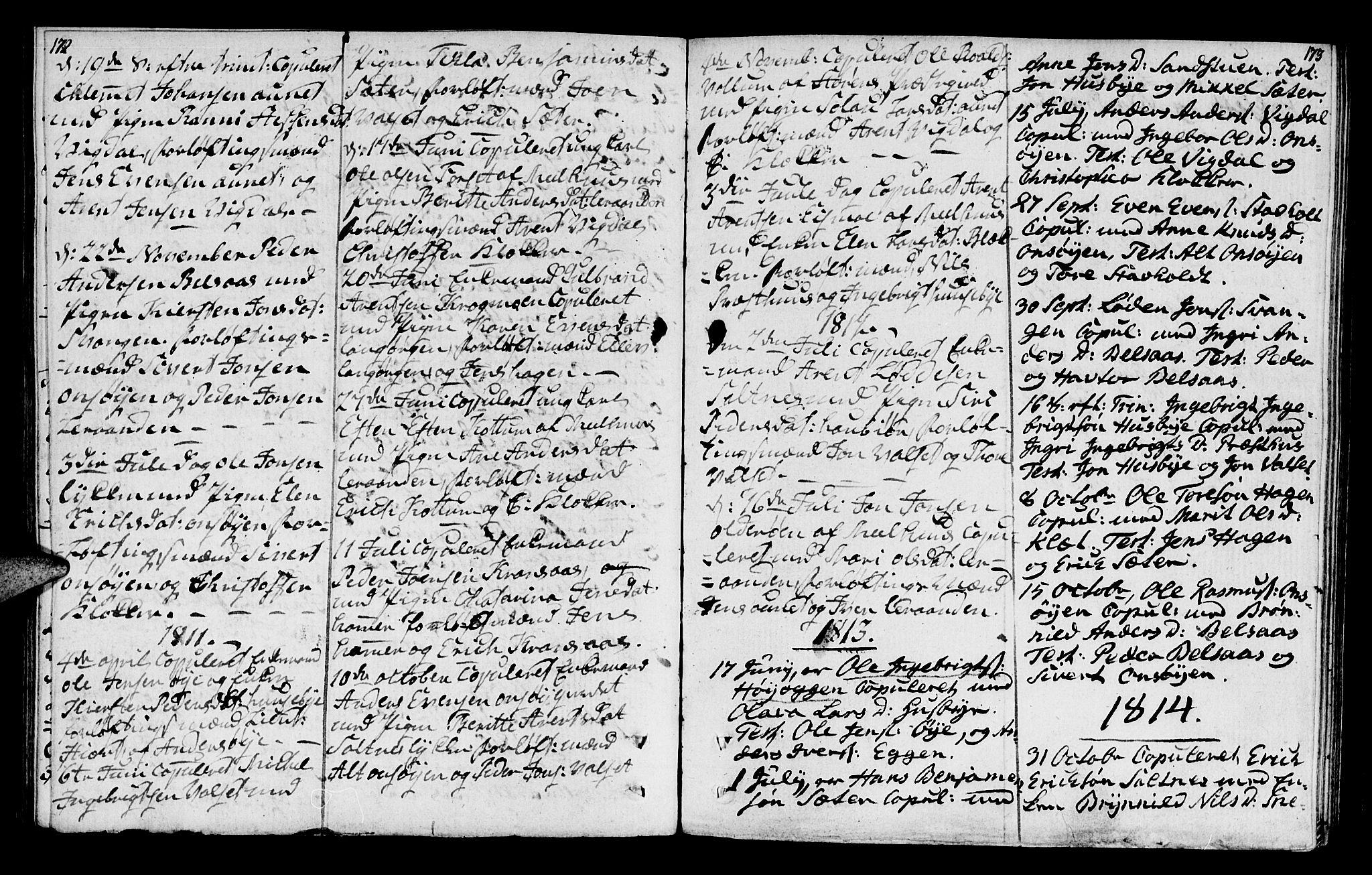 SAT, Ministerialprotokoller, klokkerbøker og fødselsregistre - Sør-Trøndelag, 666/L0785: Ministerialbok nr. 666A03, 1803-1816, s. 172-173