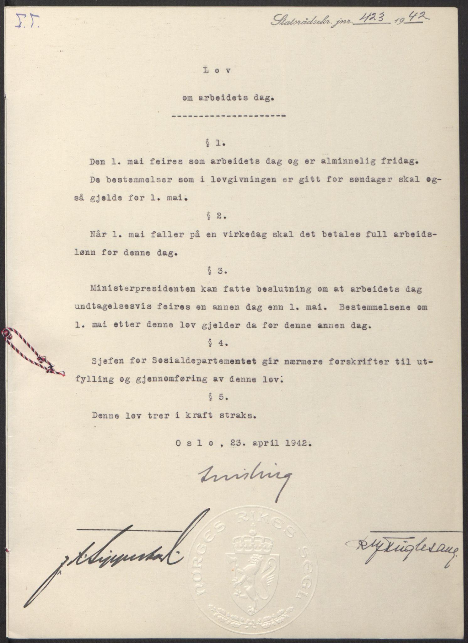 RA, NS-administrasjonen 1940-1945 (Statsrådsekretariatet, de kommisariske statsråder mm), D/Db/L0097: Lover I, 1942, s. 305