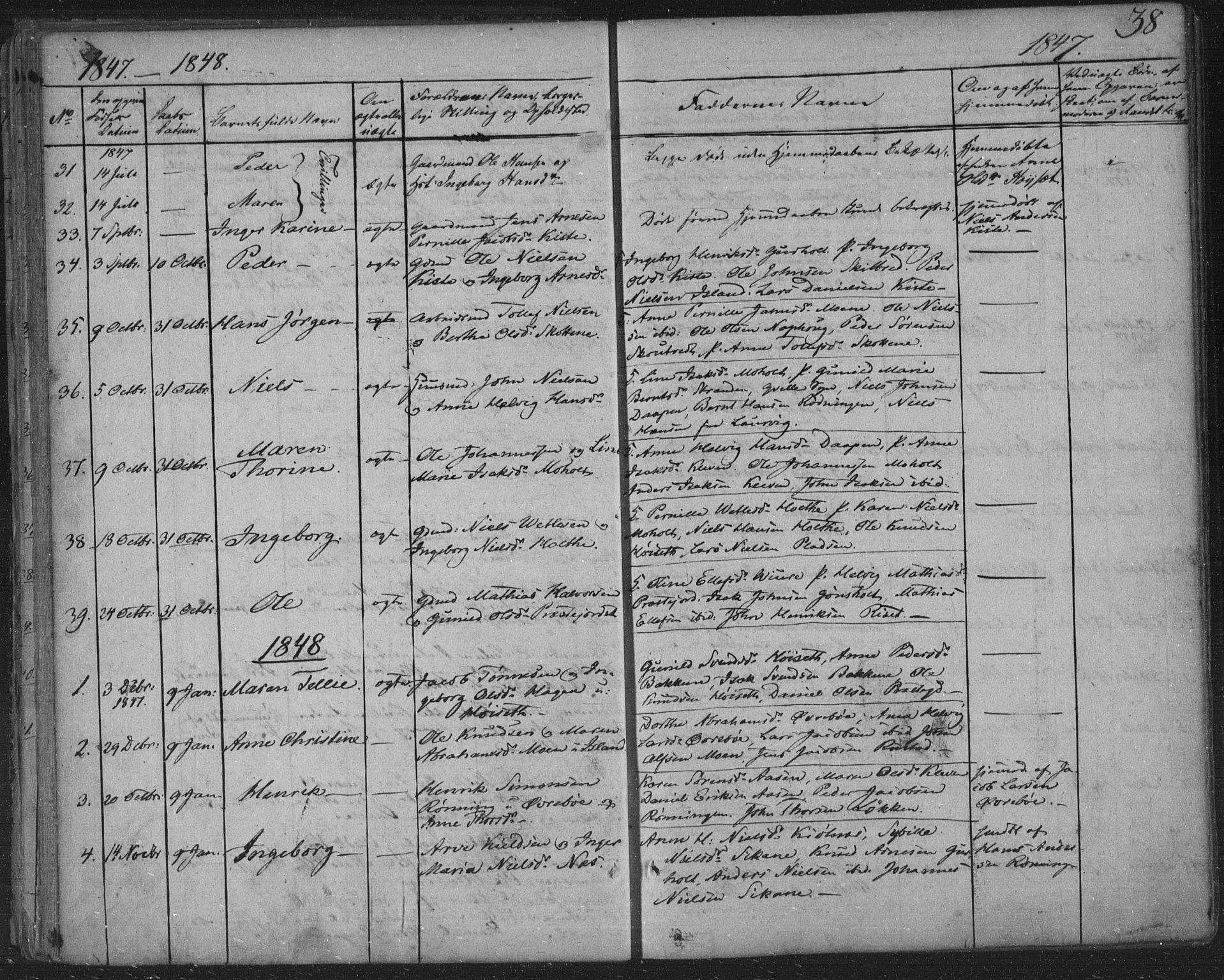 SAKO, Siljan kirkebøker, F/Fa/L0001: Ministerialbok nr. 1, 1831-1870, s. 38