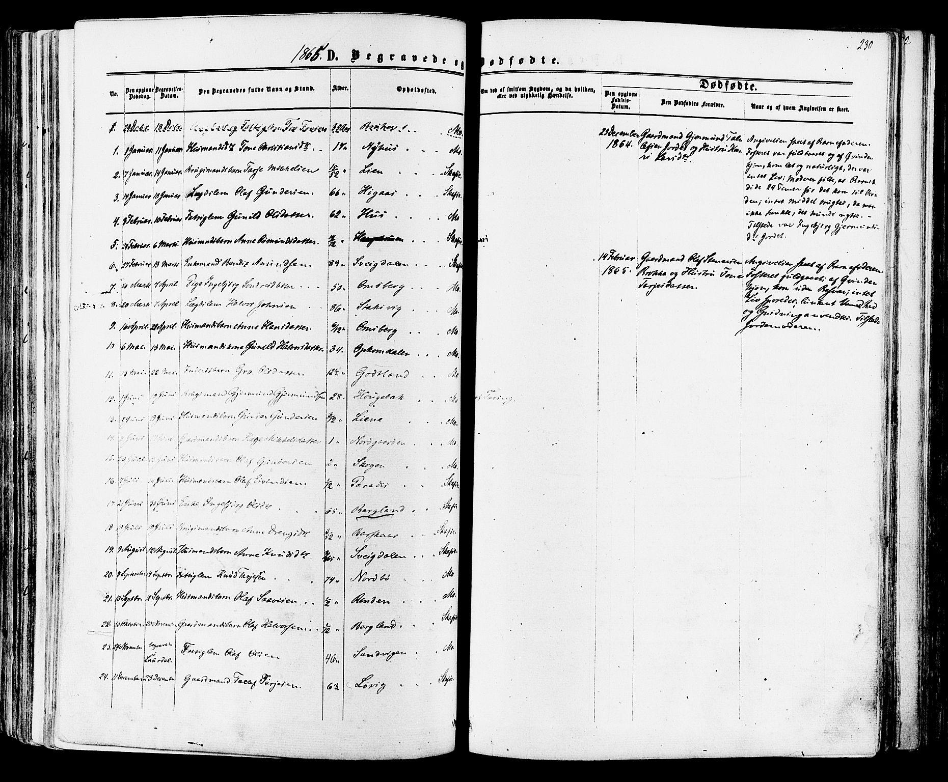 SAKO, Mo kirkebøker, F/Fa/L0006: Ministerialbok nr. I 6, 1865-1885, s. 230