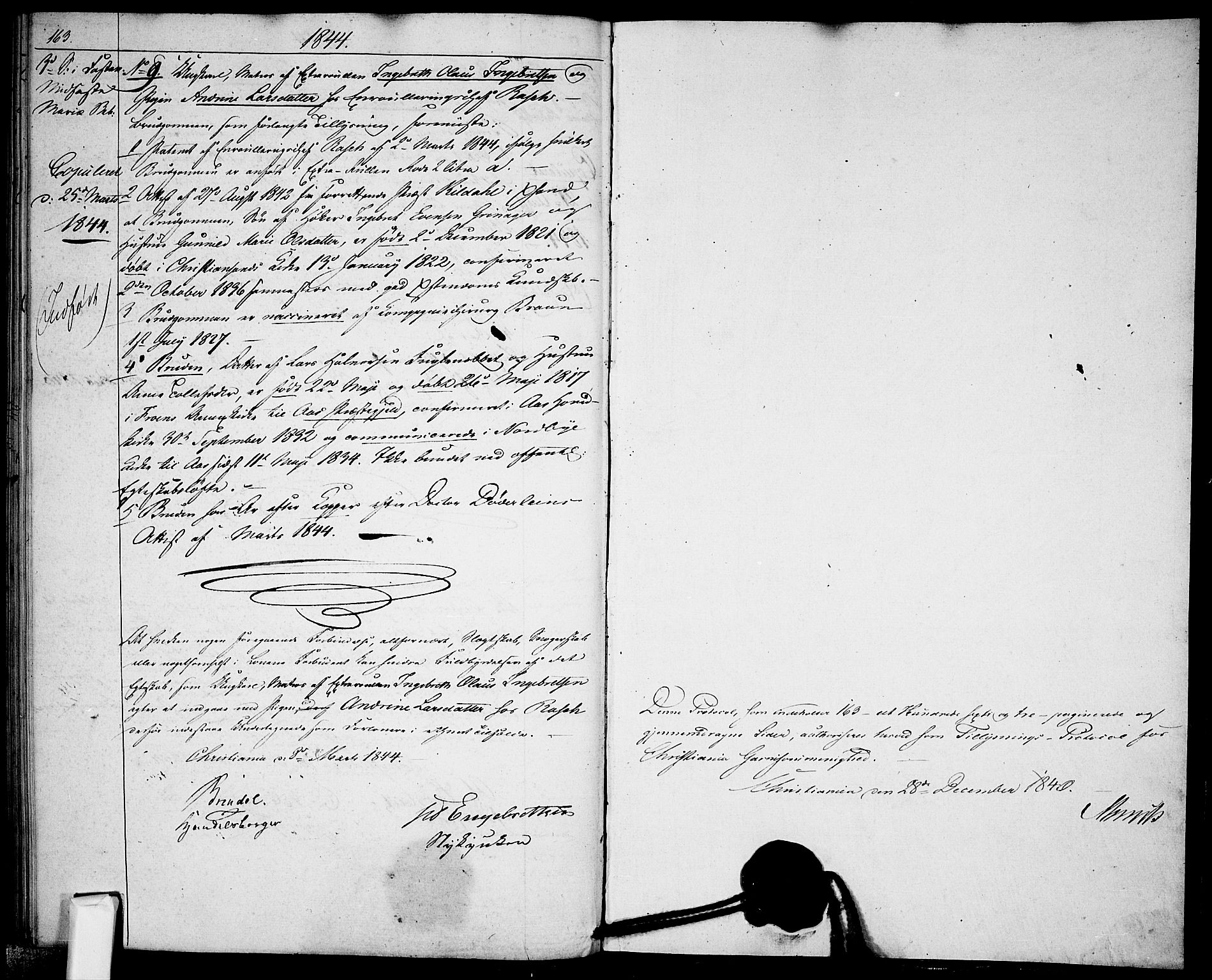 SAO, Garnisonsmenigheten Kirkebøker, H/Ha/L0004: Lysningsprotokoll nr. I 4, 1840-1844, s. 163-164