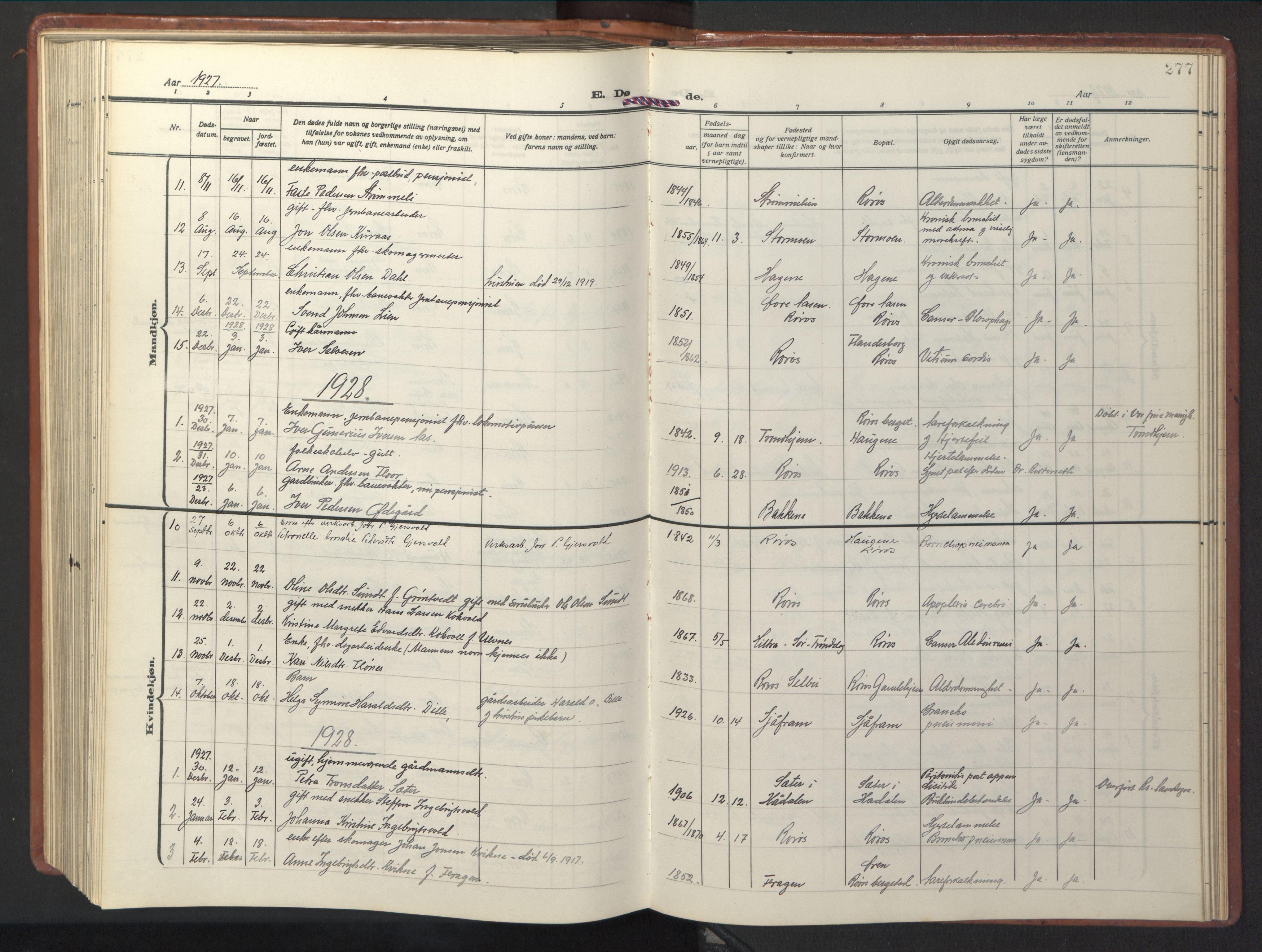 SAT, Ministerialprotokoller, klokkerbøker og fødselsregistre - Sør-Trøndelag, 681/L0943: Klokkerbok nr. 681C07, 1926-1954, s. 277