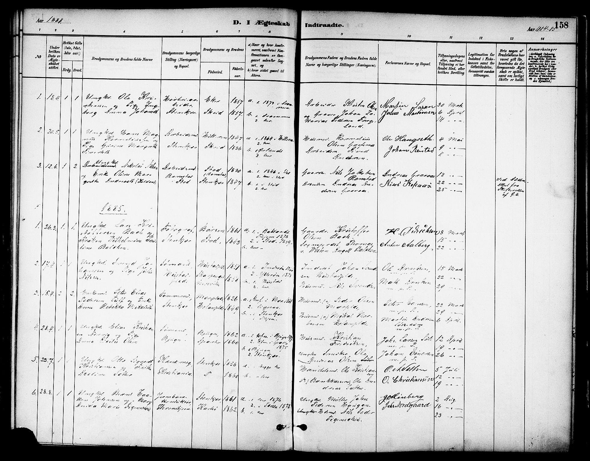 SAT, Ministerialprotokoller, klokkerbøker og fødselsregistre - Nord-Trøndelag, 739/L0371: Ministerialbok nr. 739A03, 1881-1895, s. 158