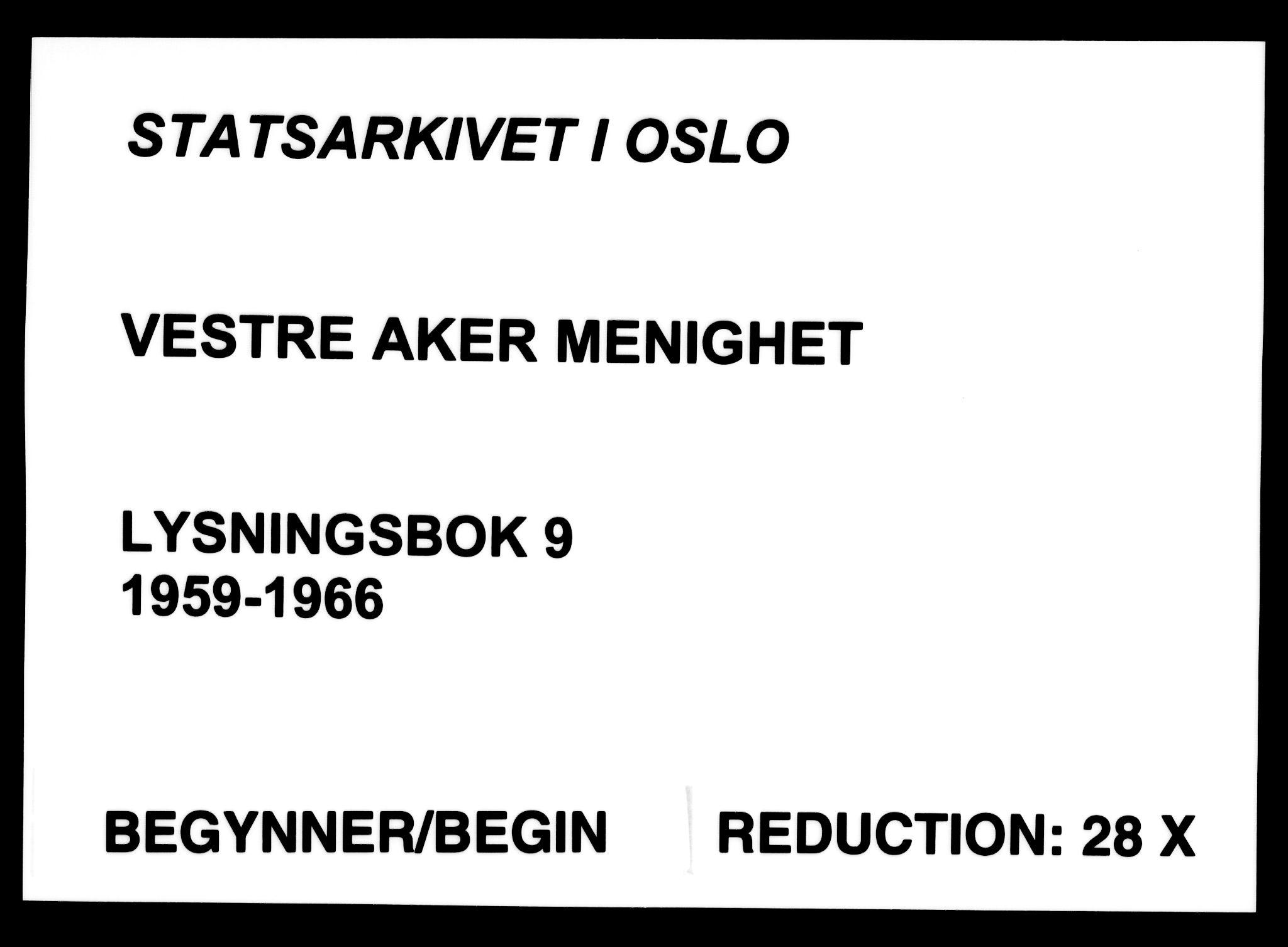 SAO, Vestre Aker prestekontor Kirkebøker, H/Ha/L0009: Lysningsprotokoll nr. 9, 1959-1966