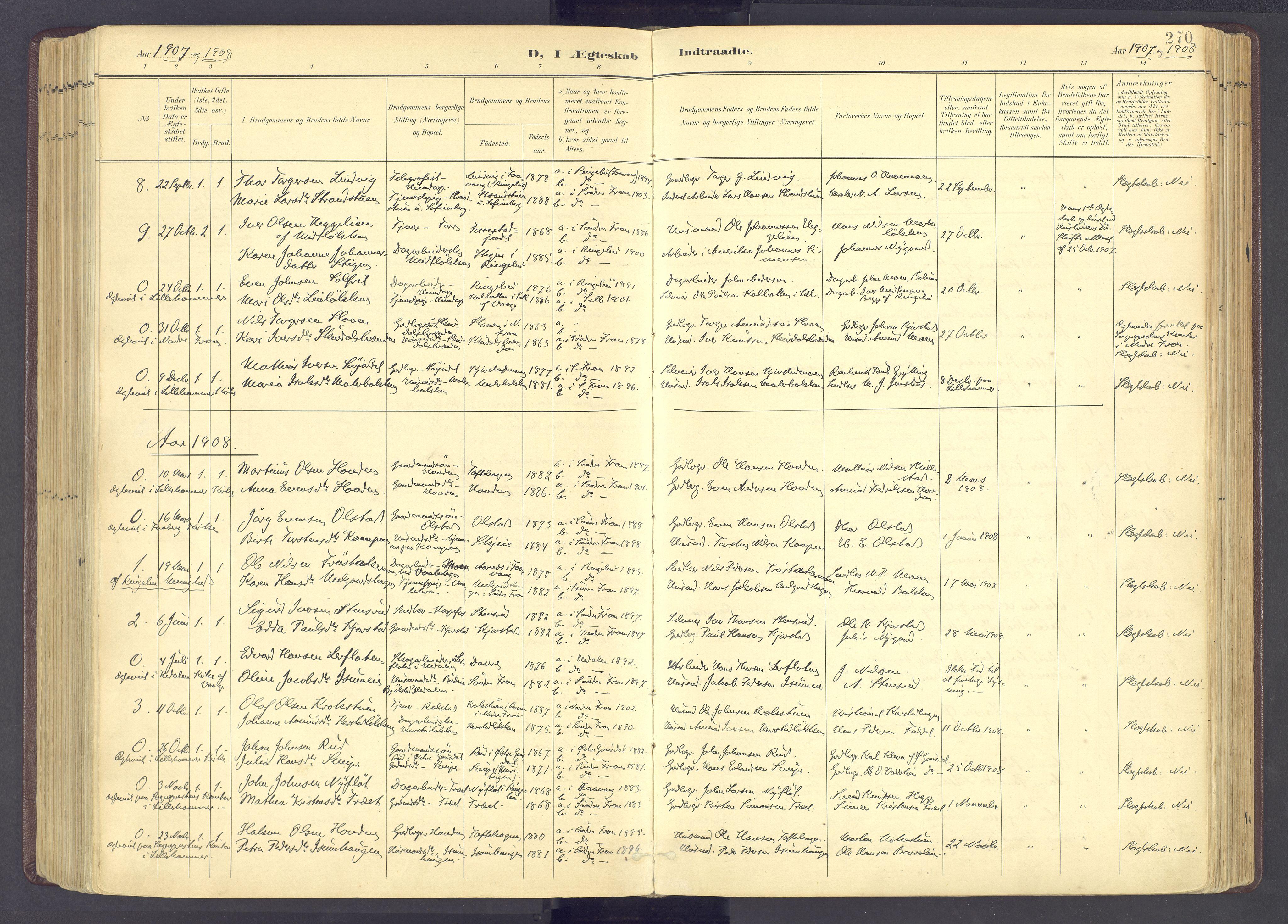 SAH, Sør-Fron prestekontor, H/Ha/Haa/L0004: Ministerialbok nr. 4, 1898-1919, s. 270
