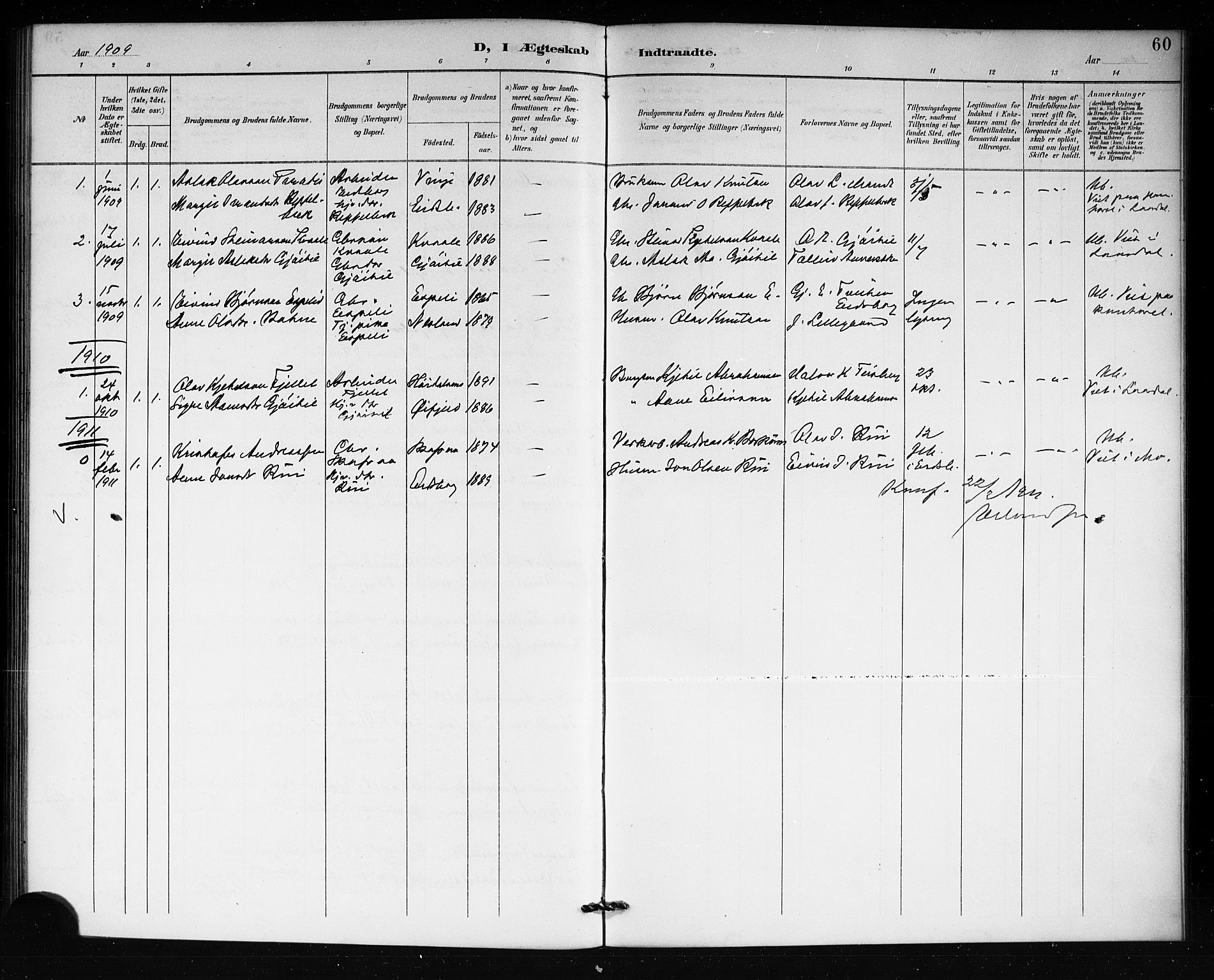 SAKO, Lårdal kirkebøker, G/Gb/L0003: Klokkerbok nr. II 3, 1889-1920, s. 60