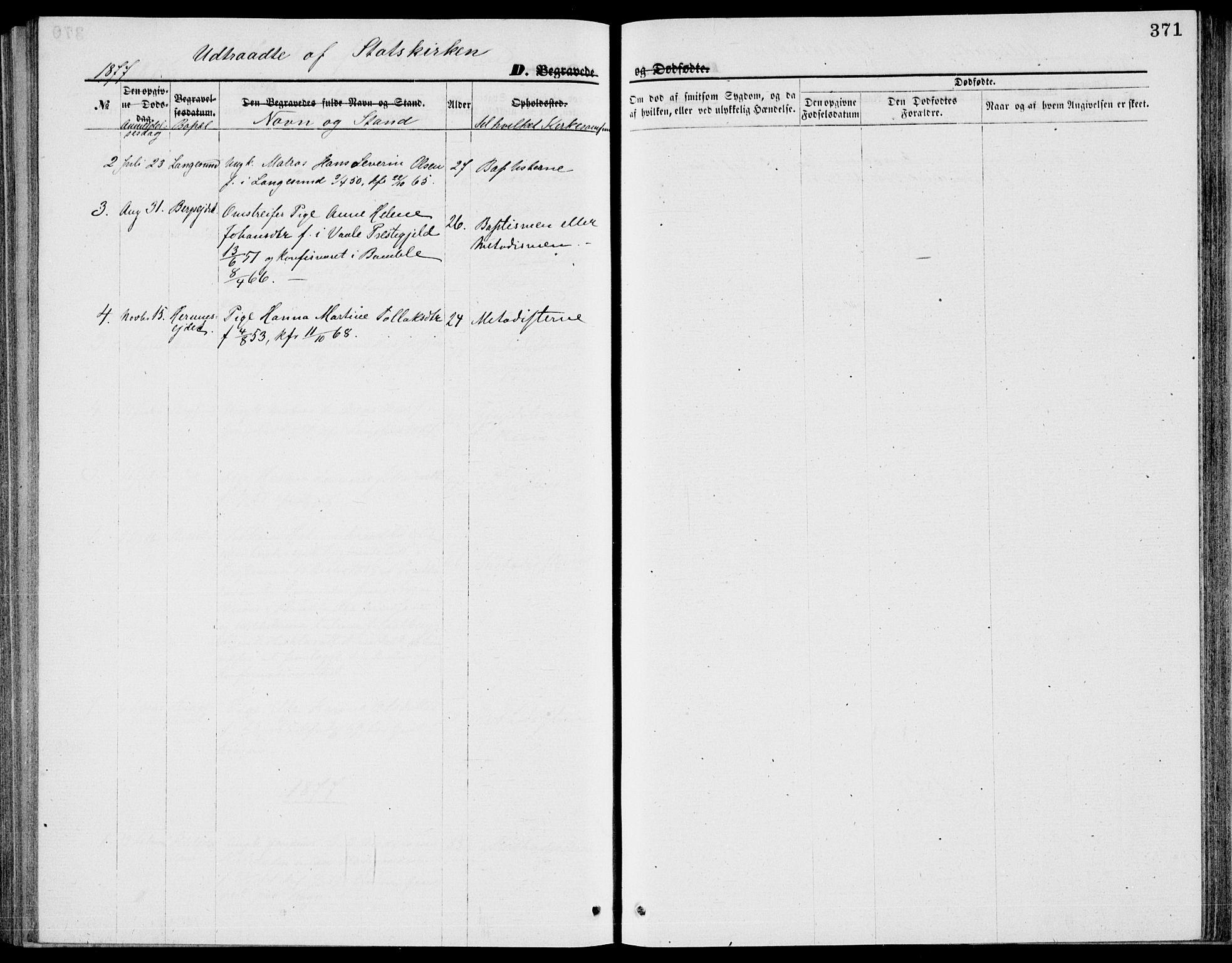SAKO, Bamble kirkebøker, G/Ga/L0007: Klokkerbok nr. I 7, 1876-1877, s. 371