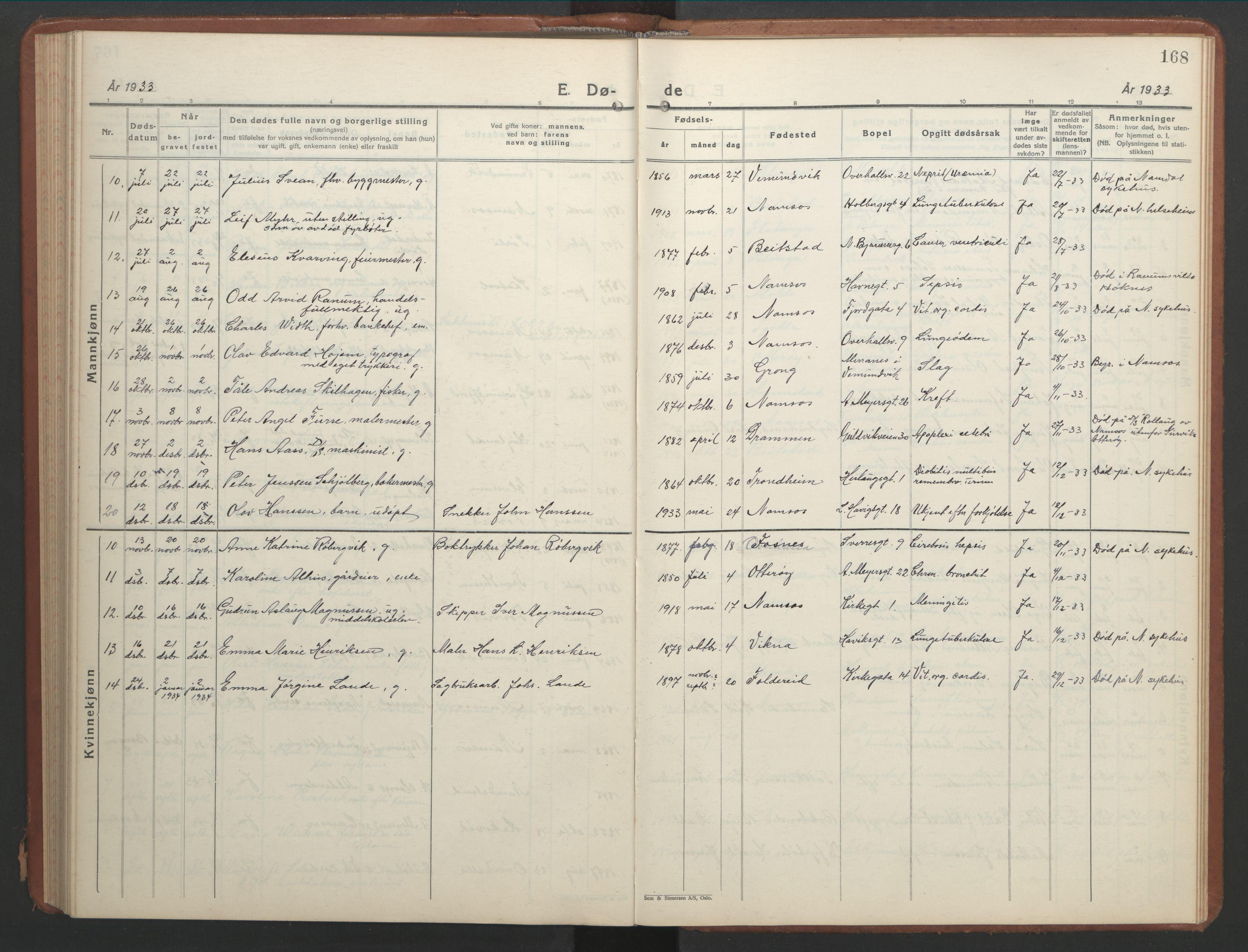 SAT, Ministerialprotokoller, klokkerbøker og fødselsregistre - Nord-Trøndelag, 768/L0583: Klokkerbok nr. 768C01, 1928-1953, s. 168