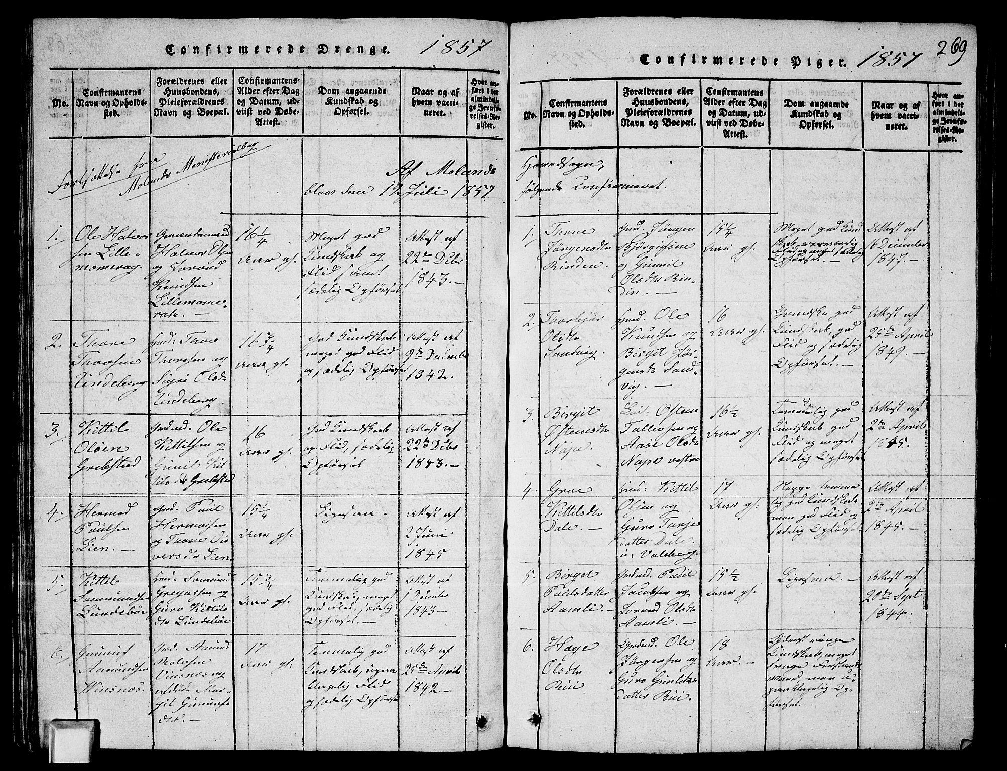 SAKO, Fyresdal kirkebøker, G/Ga/L0003: Klokkerbok nr. I 3, 1815-1863, s. 269