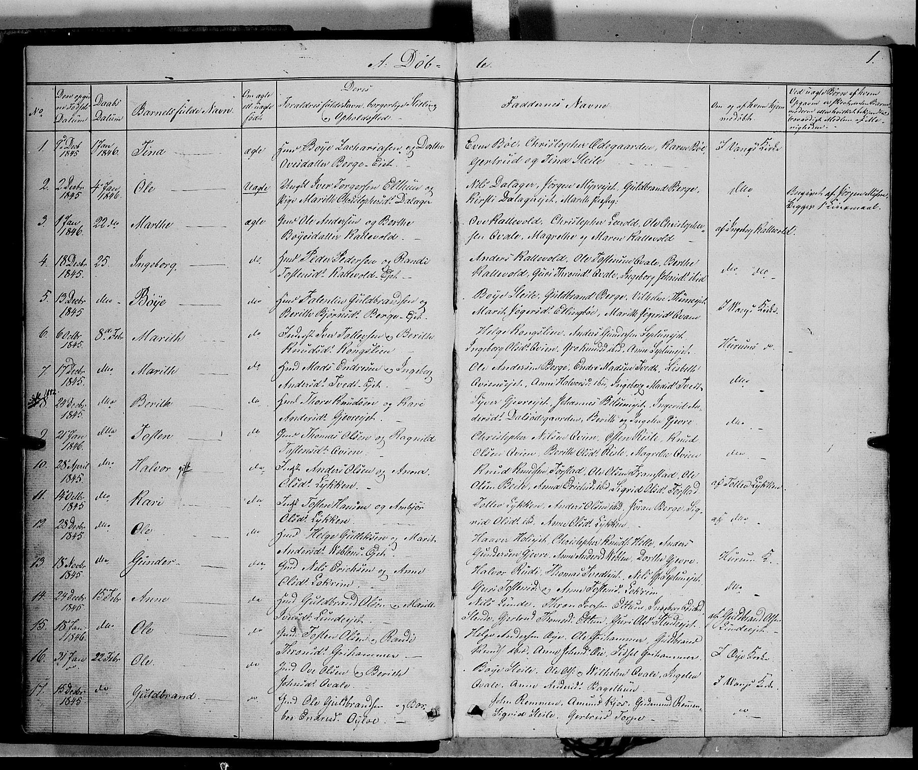 SAH, Vang prestekontor, Valdres, Ministerialbok nr. 6, 1846-1864, s. 1