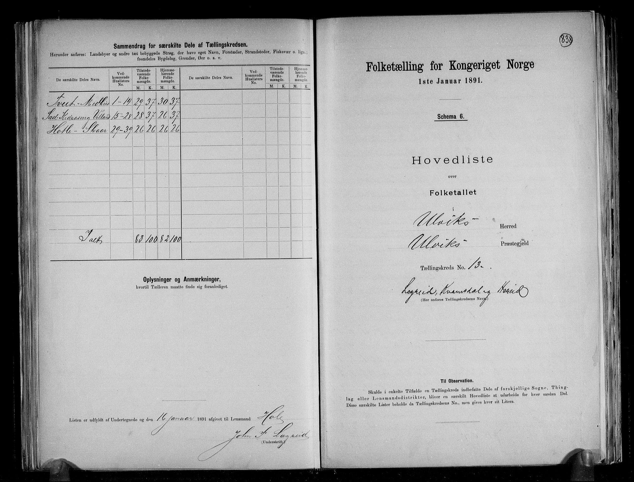 RA, Folketelling 1891 for 1233 Ulvik herred, 1891, s. 33