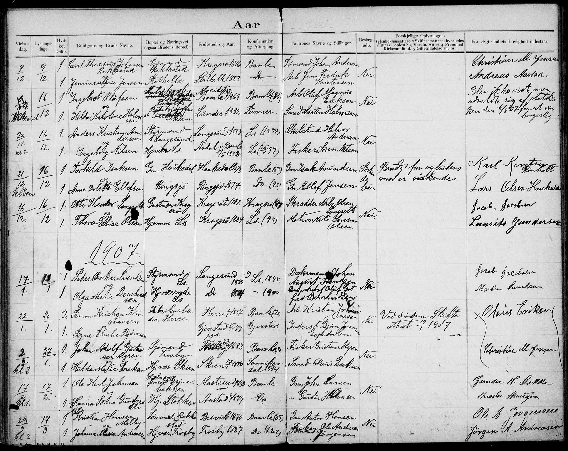 SAKO, Bamble kirkebøker, H/Ha/L0001: Lysningsprotokoll nr. 1, 1892-1920