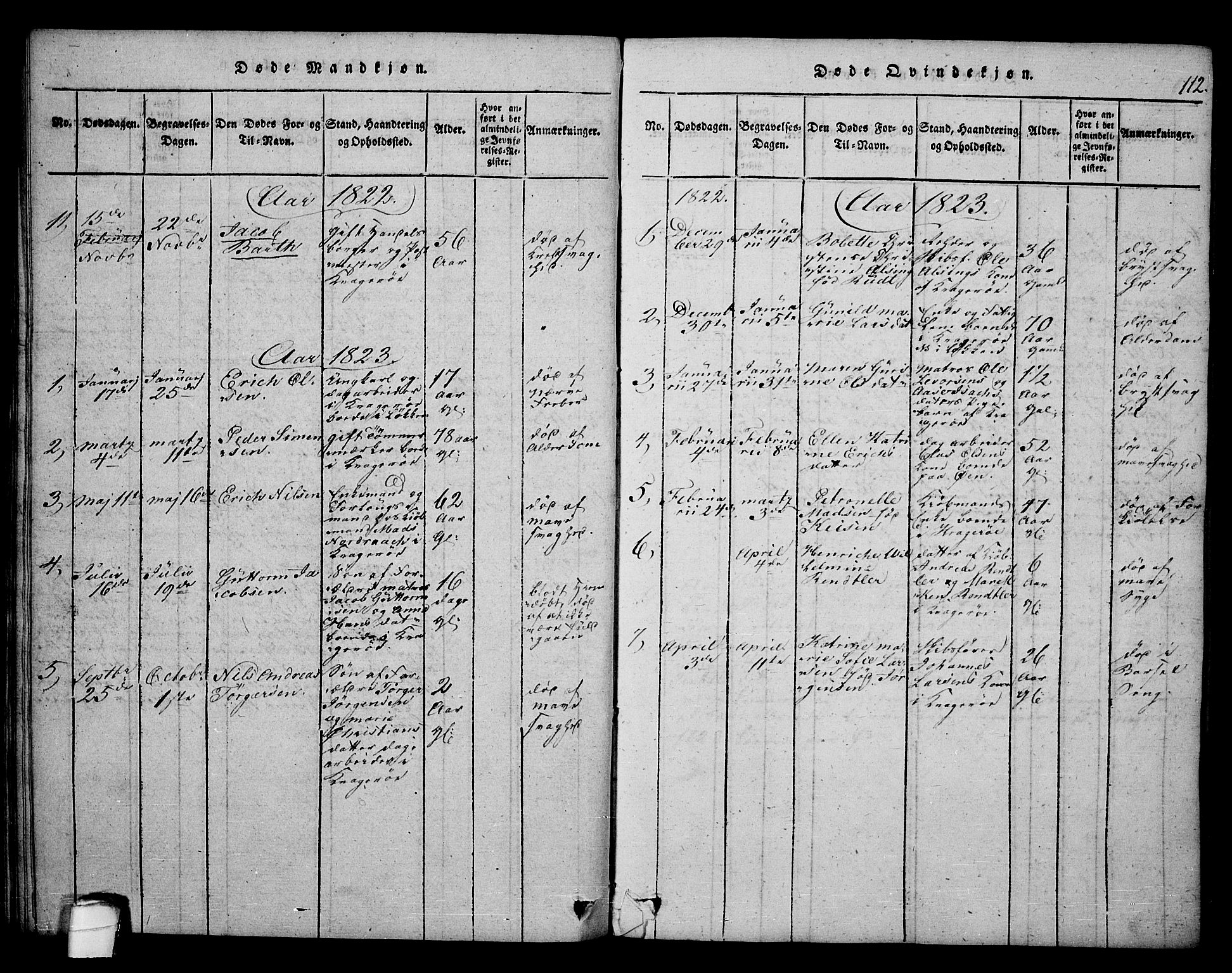 SAKO, Kragerø kirkebøker, F/Fa/L0004: Ministerialbok nr. 4, 1814-1831, s. 112