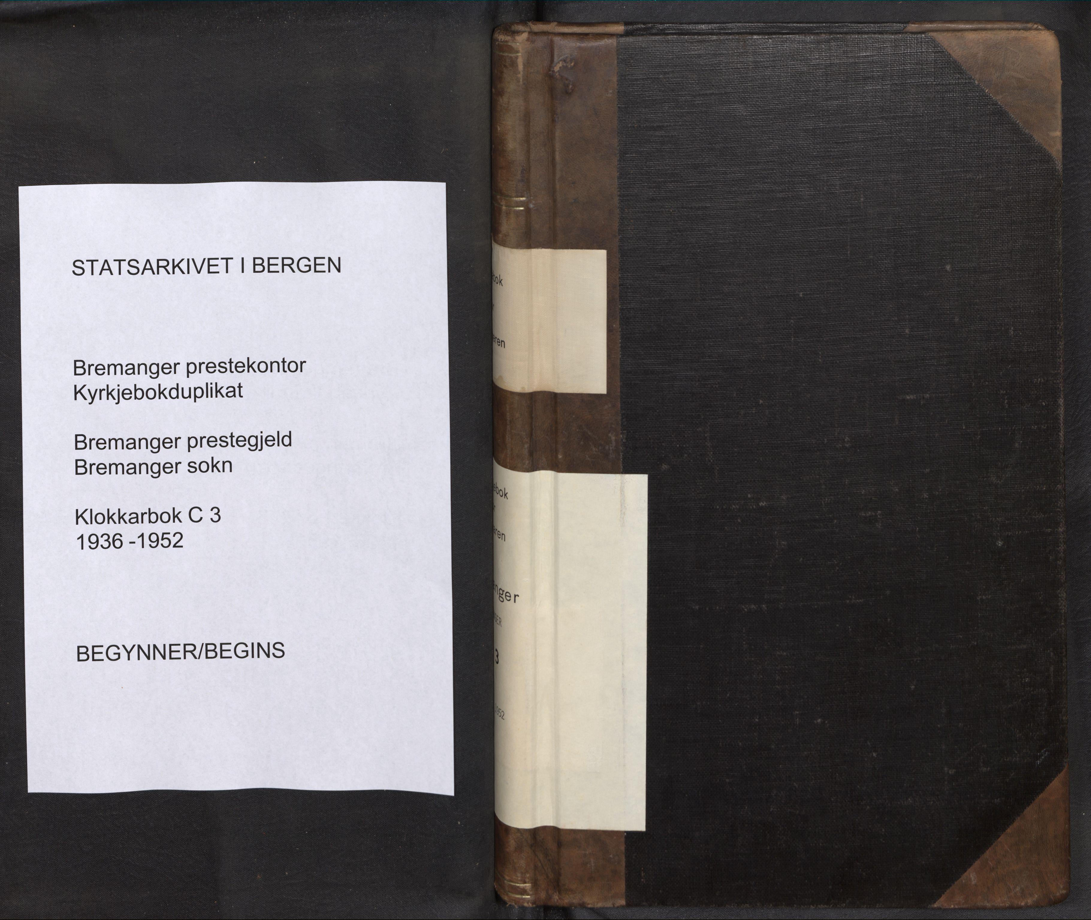 SAB, Bremanger Sokneprestembete, H/Hab: Klokkerbok nr. C 3, 1936-1952